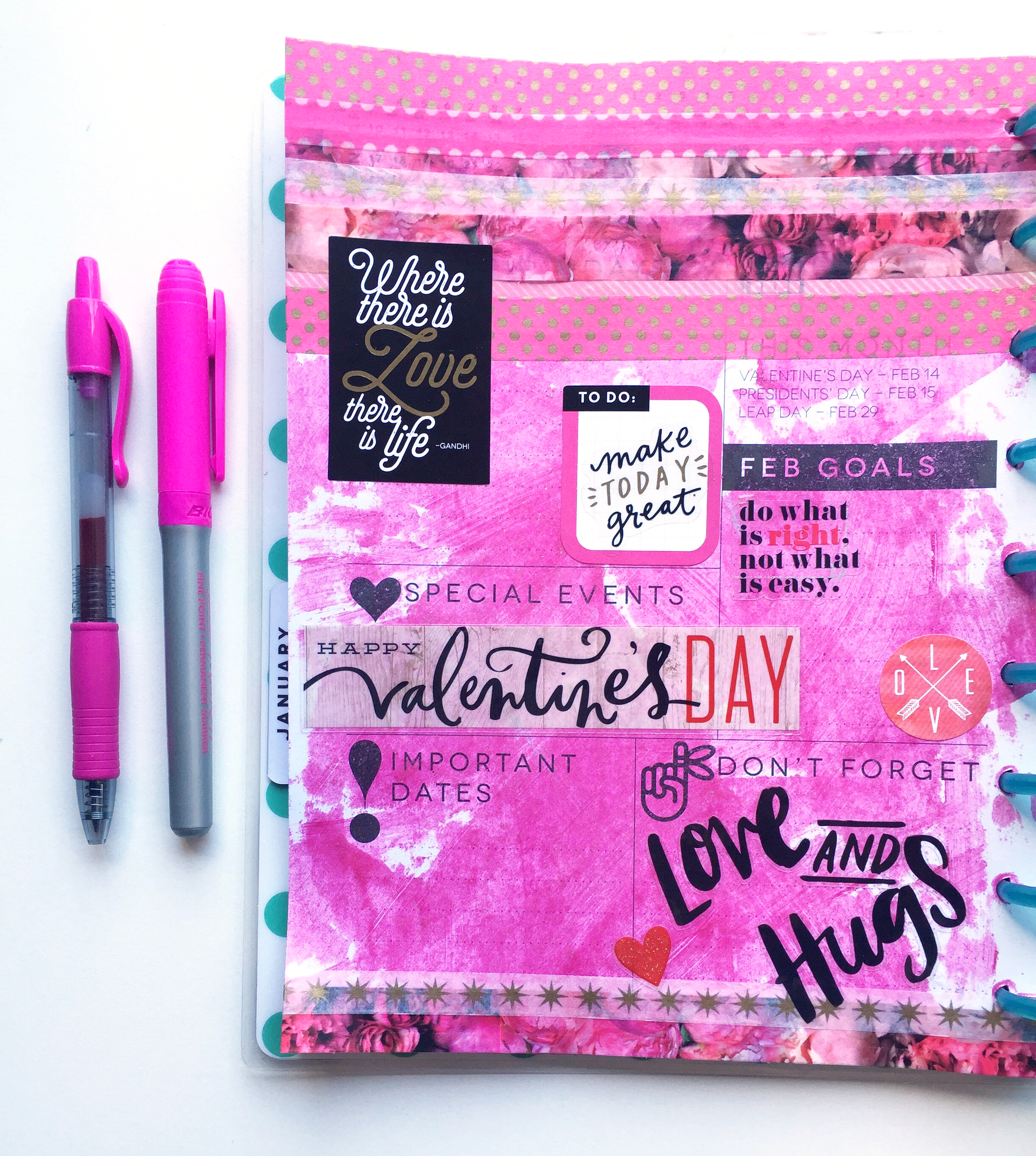 a pink painty Febrary setup in The Happy Planner™ of mambi Design Team member Casie Gutierrez | me & my BIG ideas