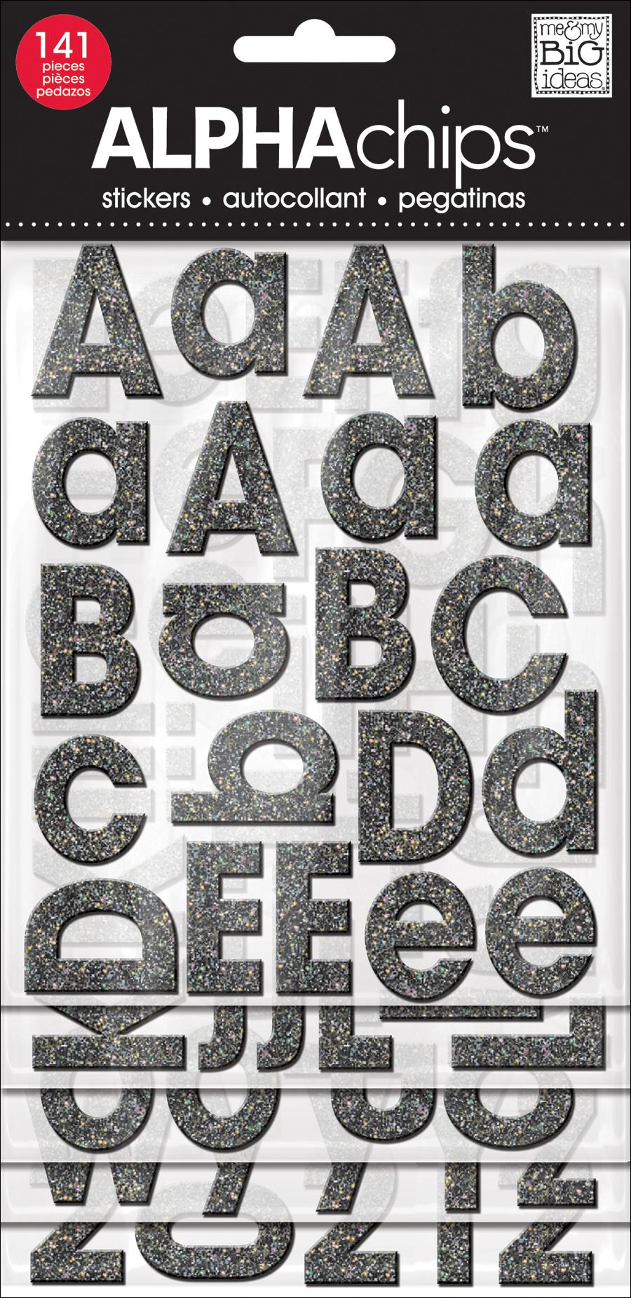 Avant Garde Black Glitter alphaCHIPS chipboard alphabet stickers | me & my BIG ideas.jpg
