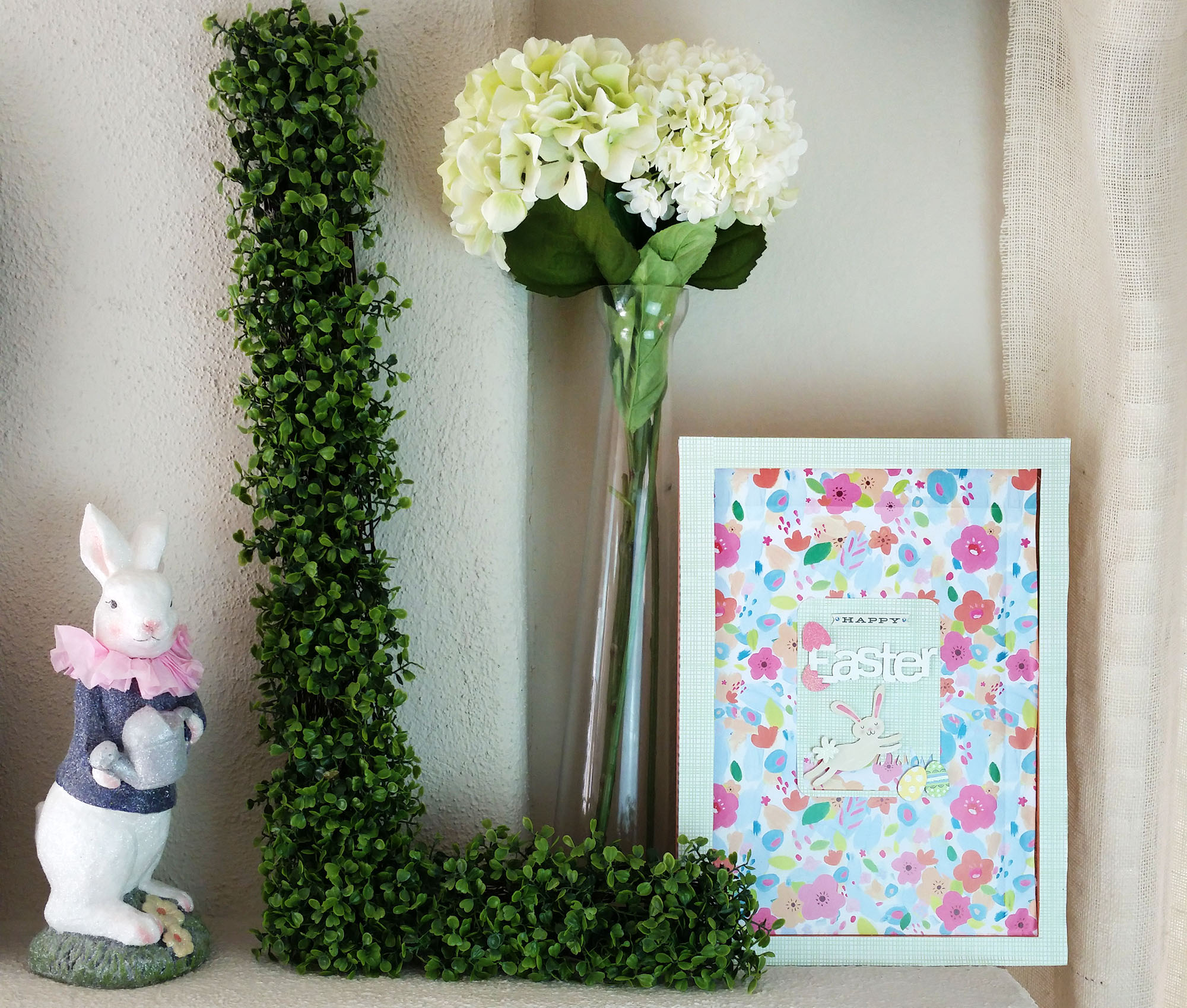an Easter mantle created by mambi Design Team member Nicole Lensen with the new Expandable Paper Pads | me & my BIG ideas