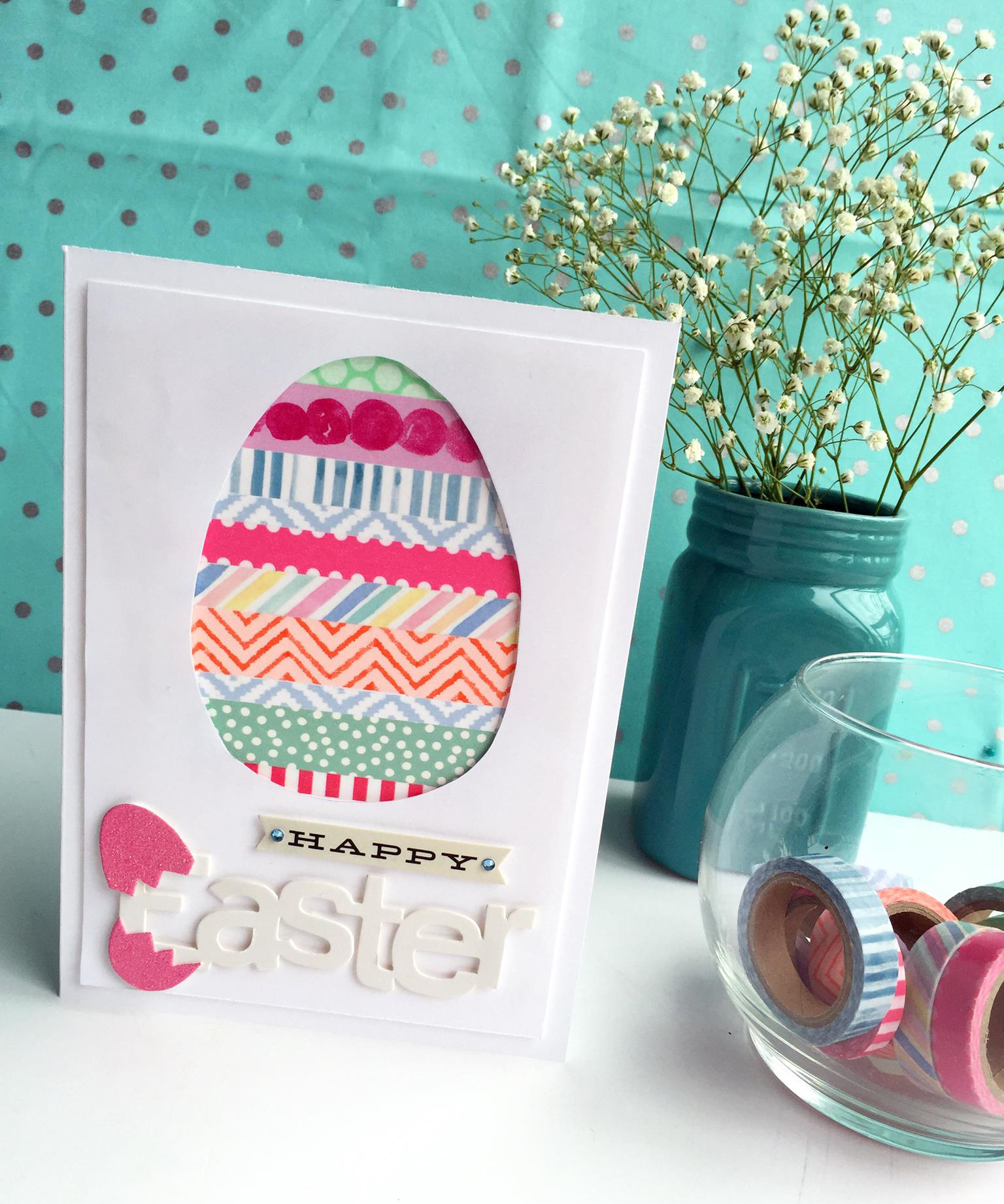 'Happy Easter' card created by mambi Design Team member Megan McKenna using Happy Planner™ washi tape | me & my BIG ideas