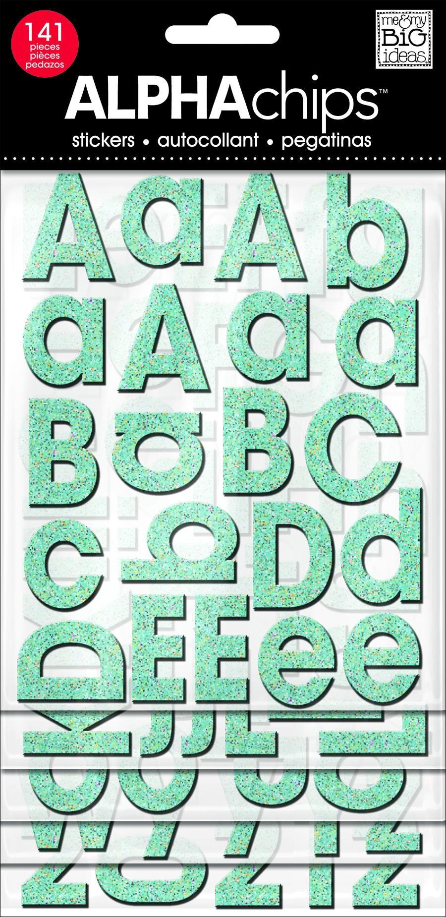 Avante Garde Teal Glitter alphaCHIPS chipboard stickers | me & my BIG ideas.jpg