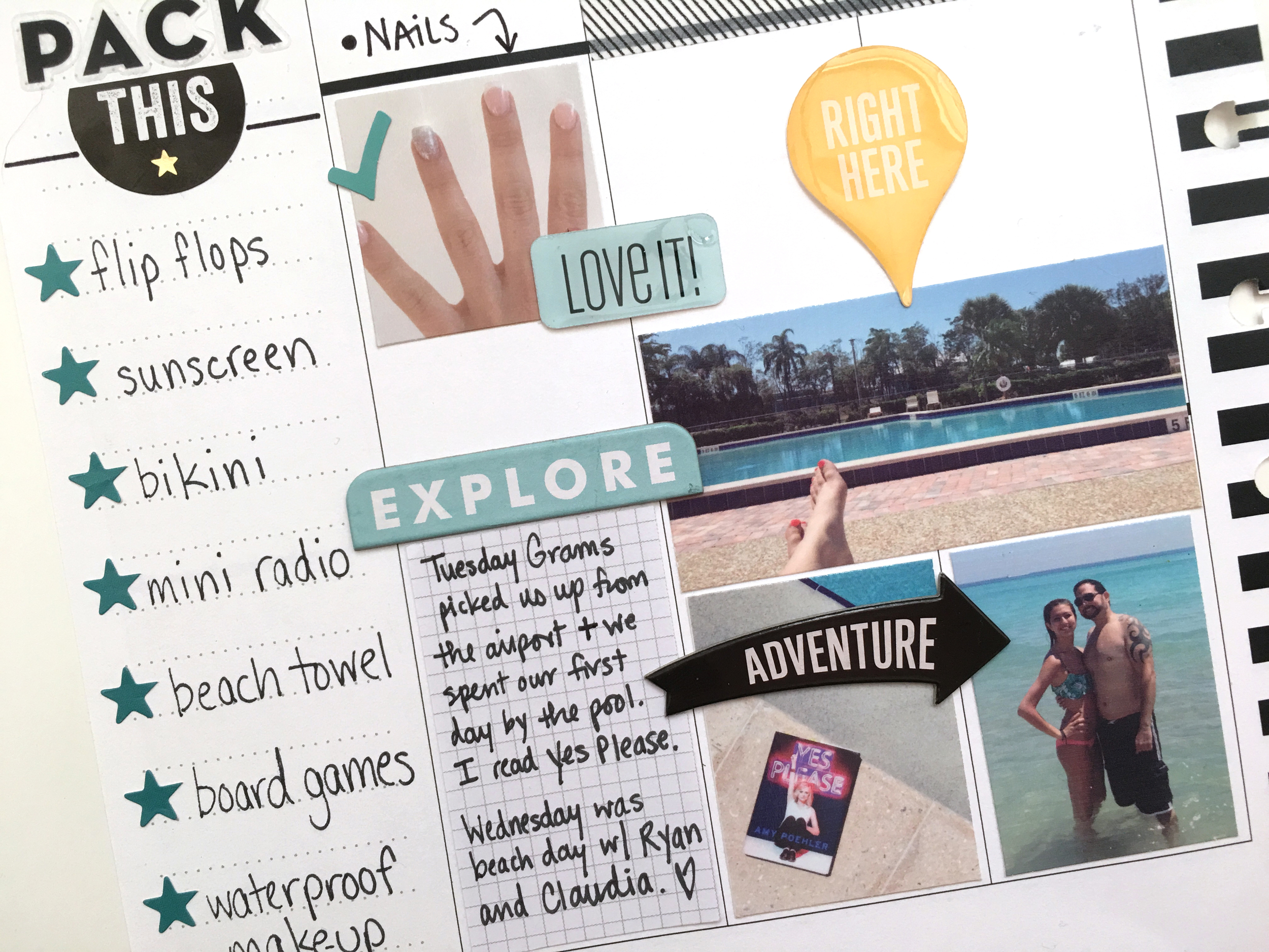 a hybrid VACATION spread by mambi Social Media Coordinator for Hobby Lobby combining planning/memory keeping/scrapbooking in one! | me & my BIG ideas