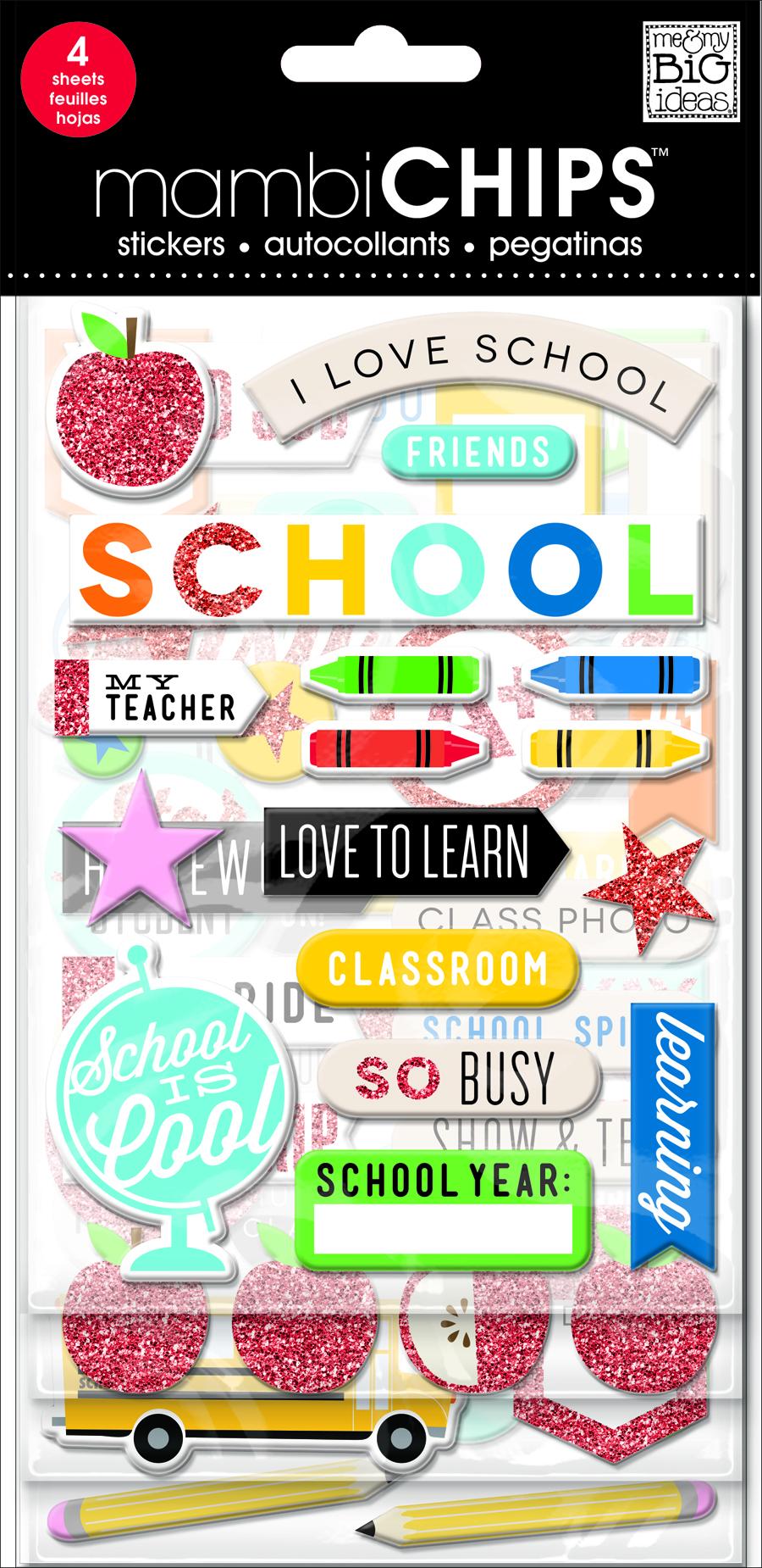 'I Love School' mambiCHIPS chipboard stickers | me & my BIG ideas.jpg