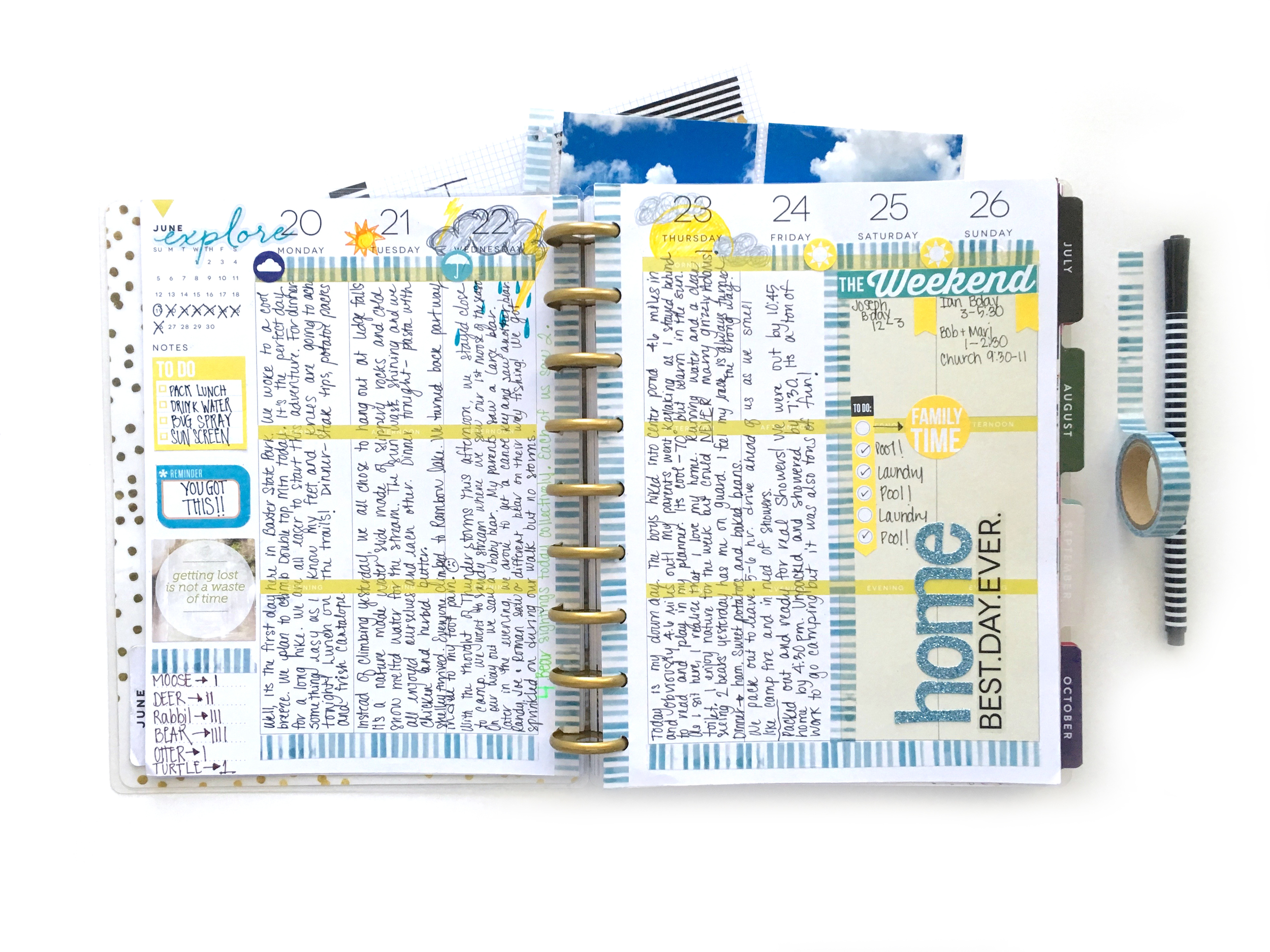 daily journalling in The Happy Planner™ about her week CAMPING by mambi Design Team member Mary-Ann Maldonado | me & my BIG ideas