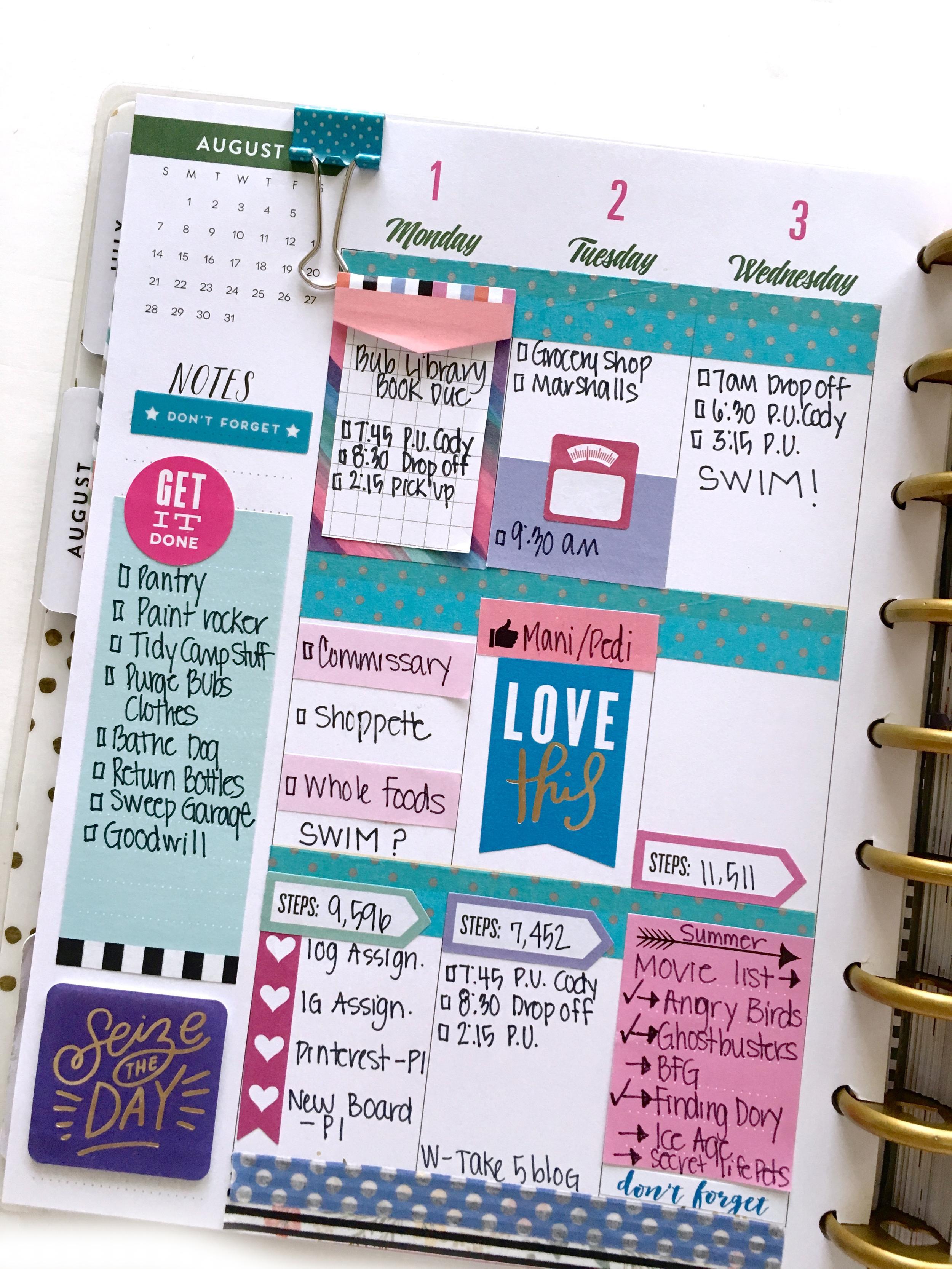 pink, purple, & turquoise week in the 'Botanical Garden' Happy Planner™ of mambi Design Tea member Mary-Ann Maldonado | me & my BIG ideas