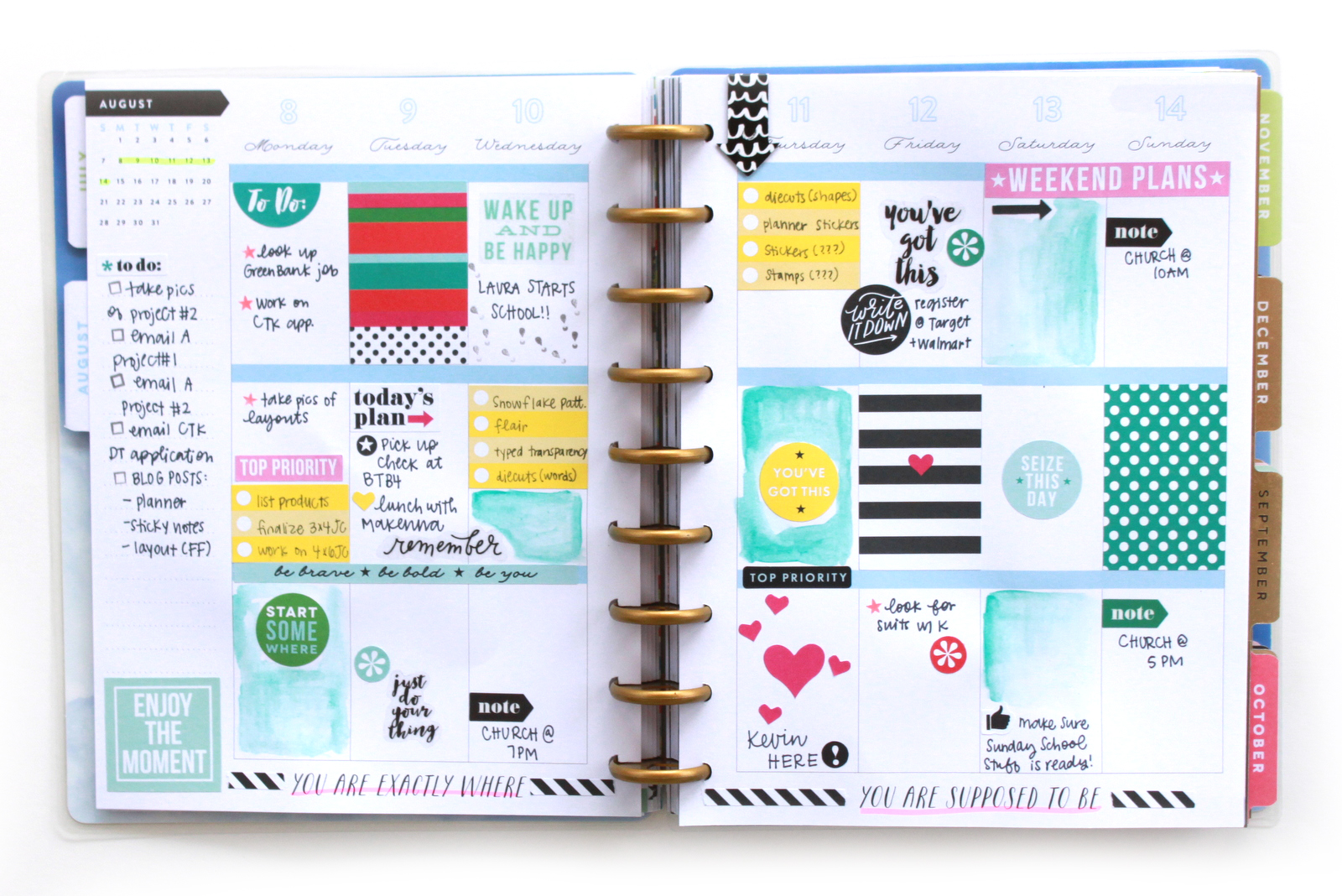 stickers & watercolor in the 'Picture Quote' Happy Planner™ of mambi Design Team member Heather Adams | me & my BIG ideas