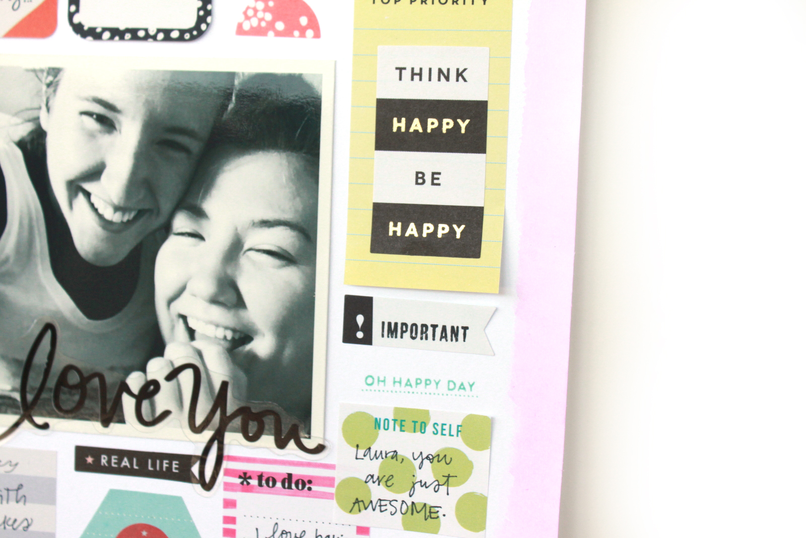 scrapbook page w/ Happy Planner™ sticky notes by mambi Design Team member Heather Adams | me & my BIG ideas
