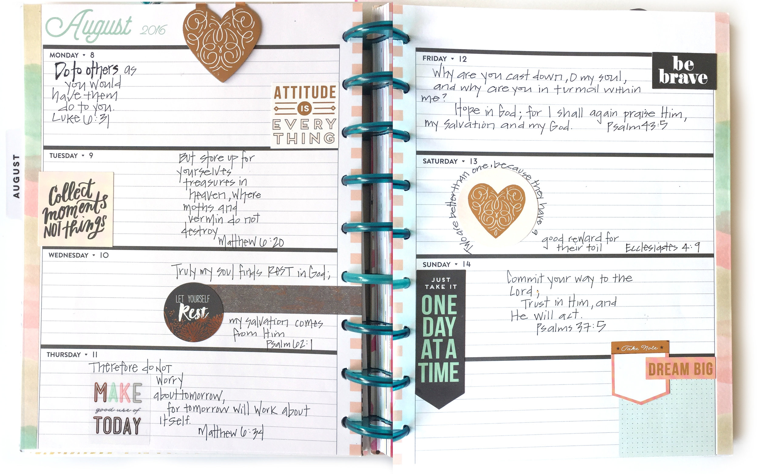 Faith planning & bible journalling in the Rose Gold Horizontal Happy Planner™ of mambi Design Team member Casie Gutierrez | me & my BIG ideas