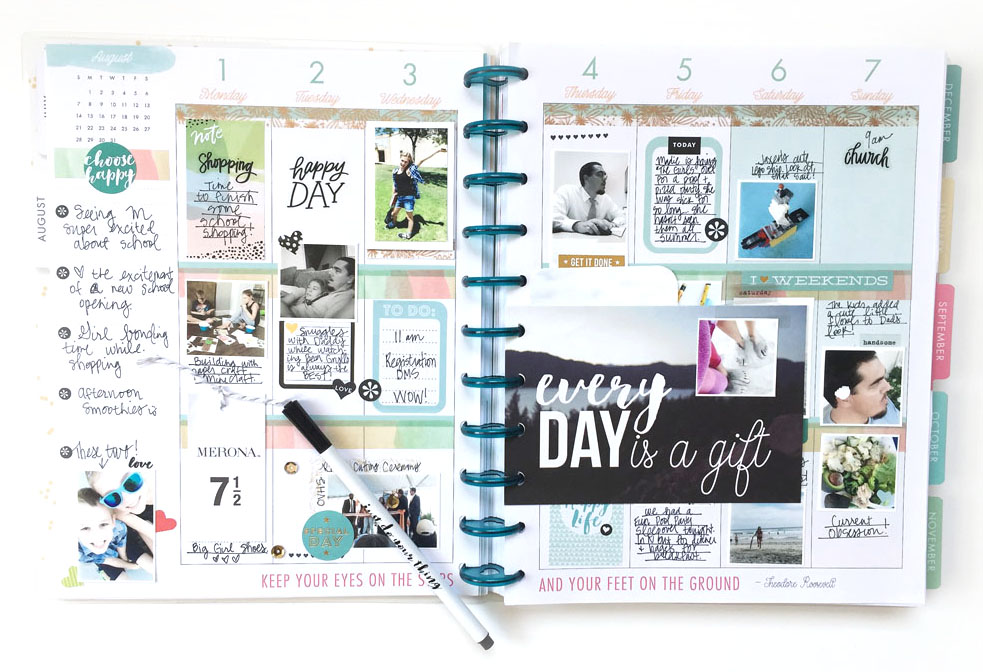 memory planning in the BIG 'Stay Golden' Happy Planner™ of mambi Design Team member Jen Randall w/ tips for how to include more photos | me & my BIG ideas