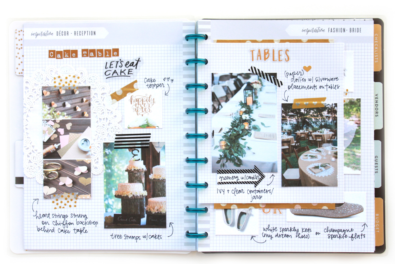 wedding inspiration in The Happy Planner™ Wedding Extension Pack of mambi Design Team member Heather Adams | me & my BIG ideas