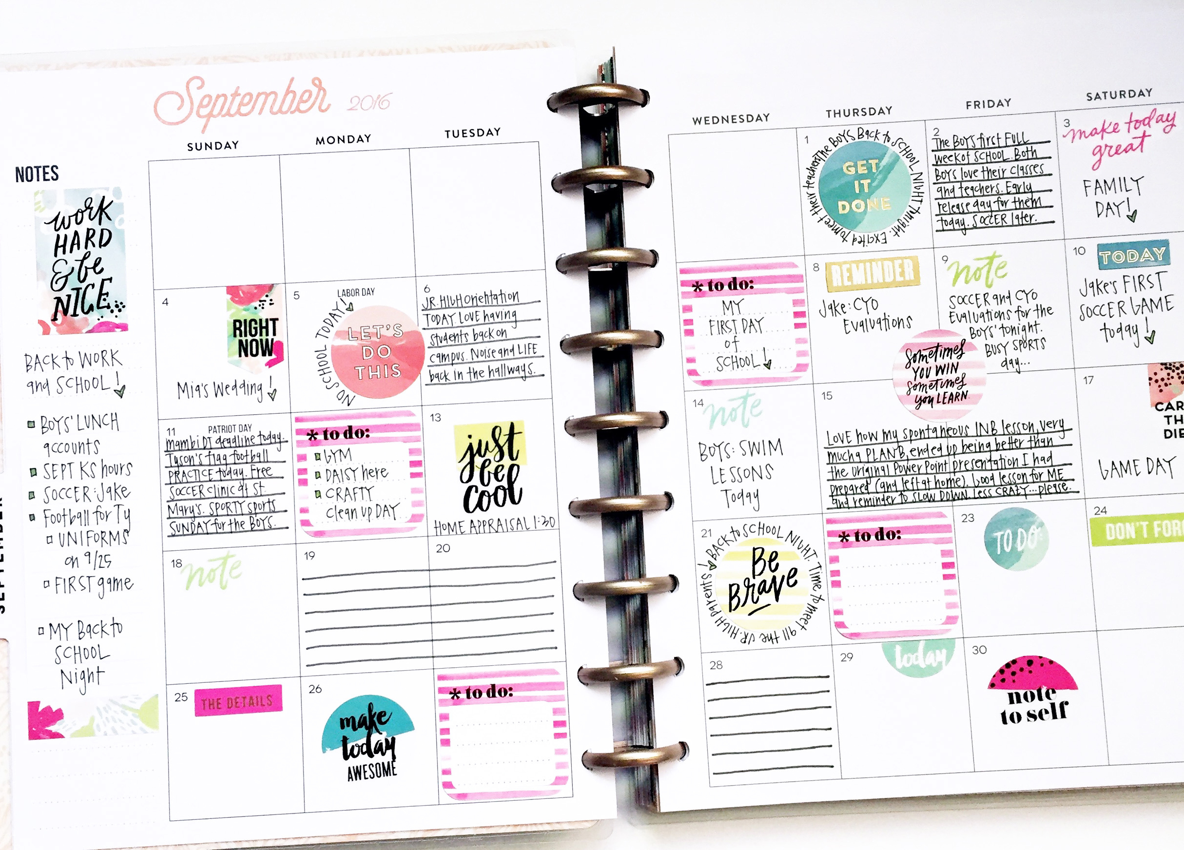 September monthly & weekly in the Rose Gold Horizontal Happy Planner™ of mambi Design Team member April Orr   me & my BIG ideas