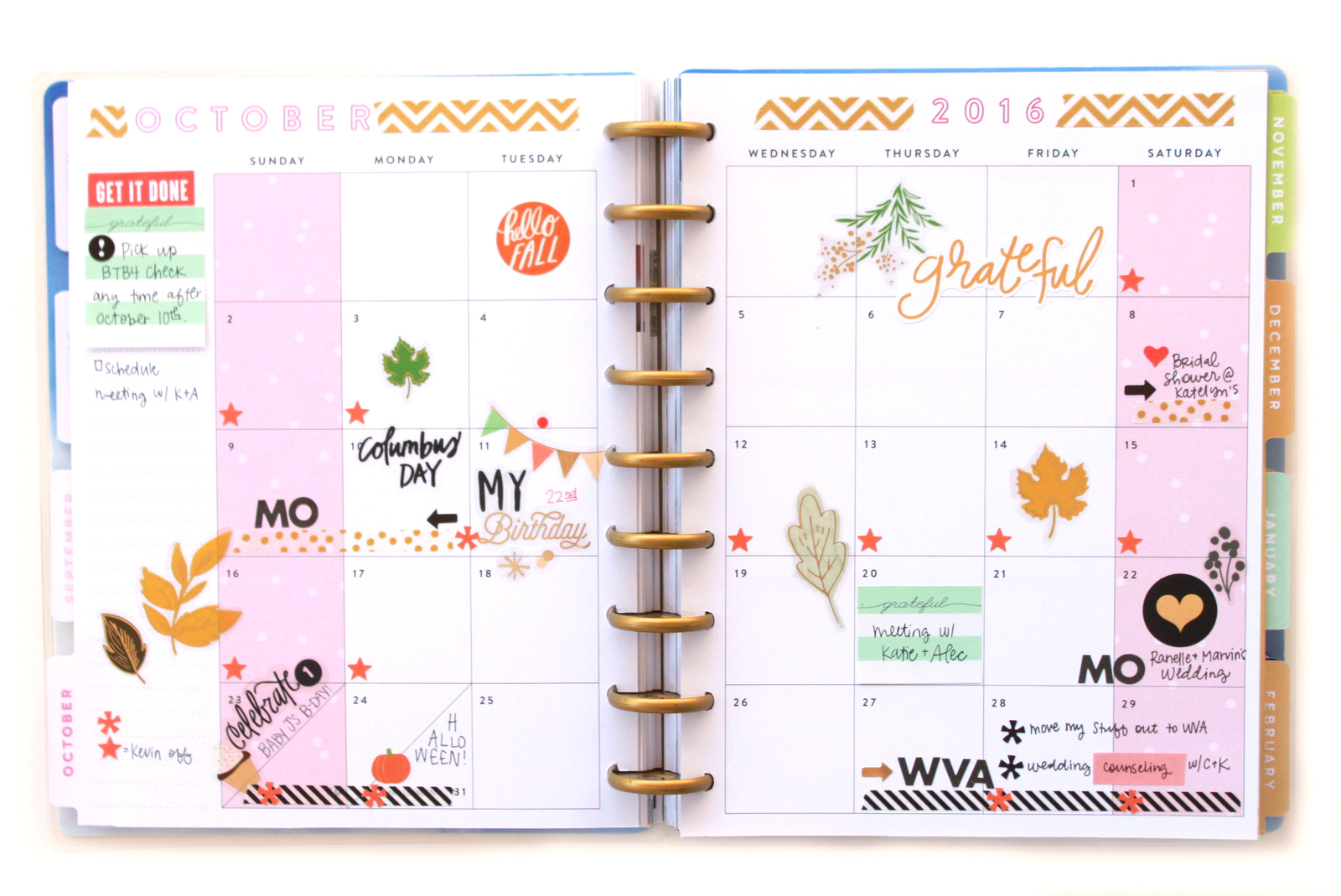 October monthly prpe in the ' Picture Quote' Happy Planner™ of mambi Design Team member Heather Adams | me & my BIG ideas