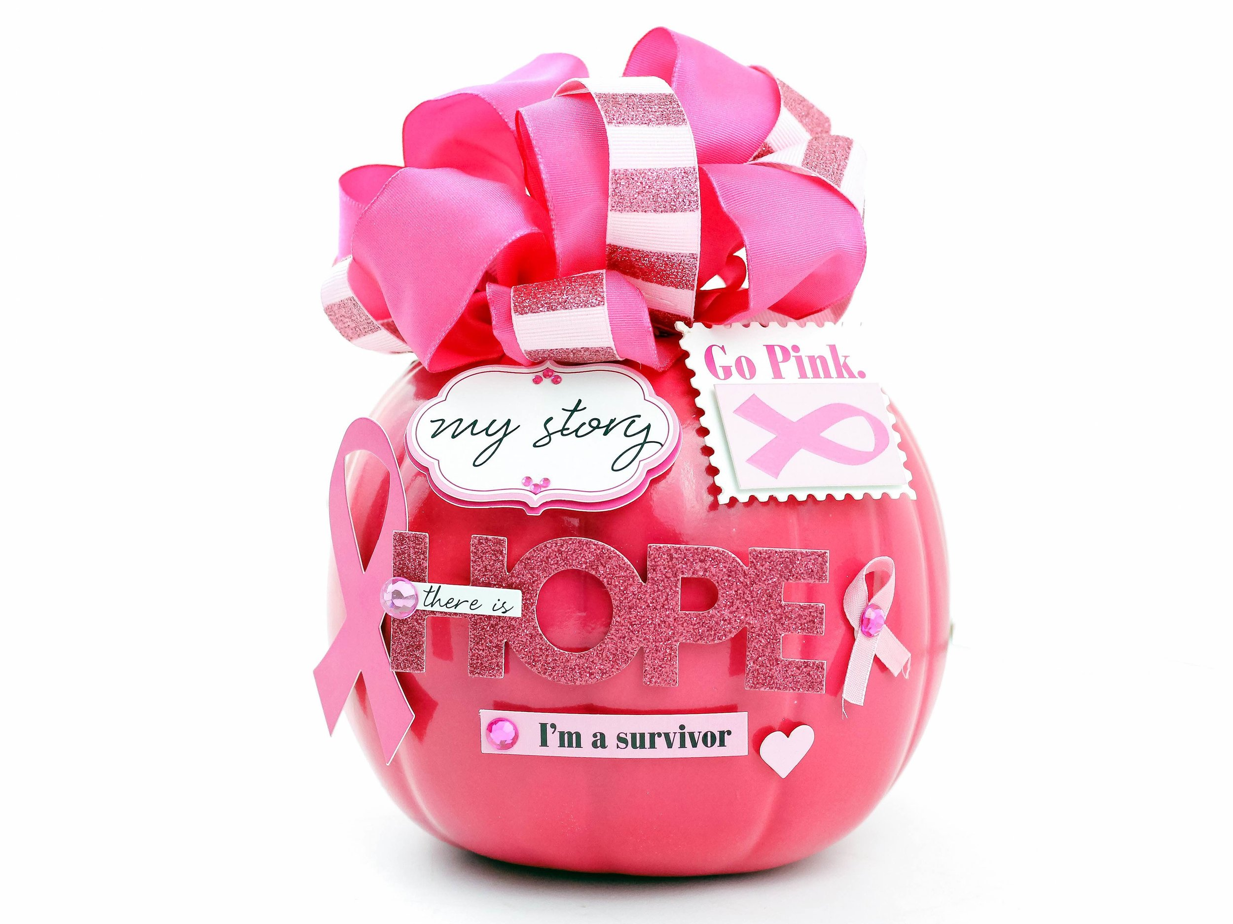 pink pumpkin for Breast Cancer Awareness month by mambi Design Team member Nicole Patterson | me & my BIG ideas