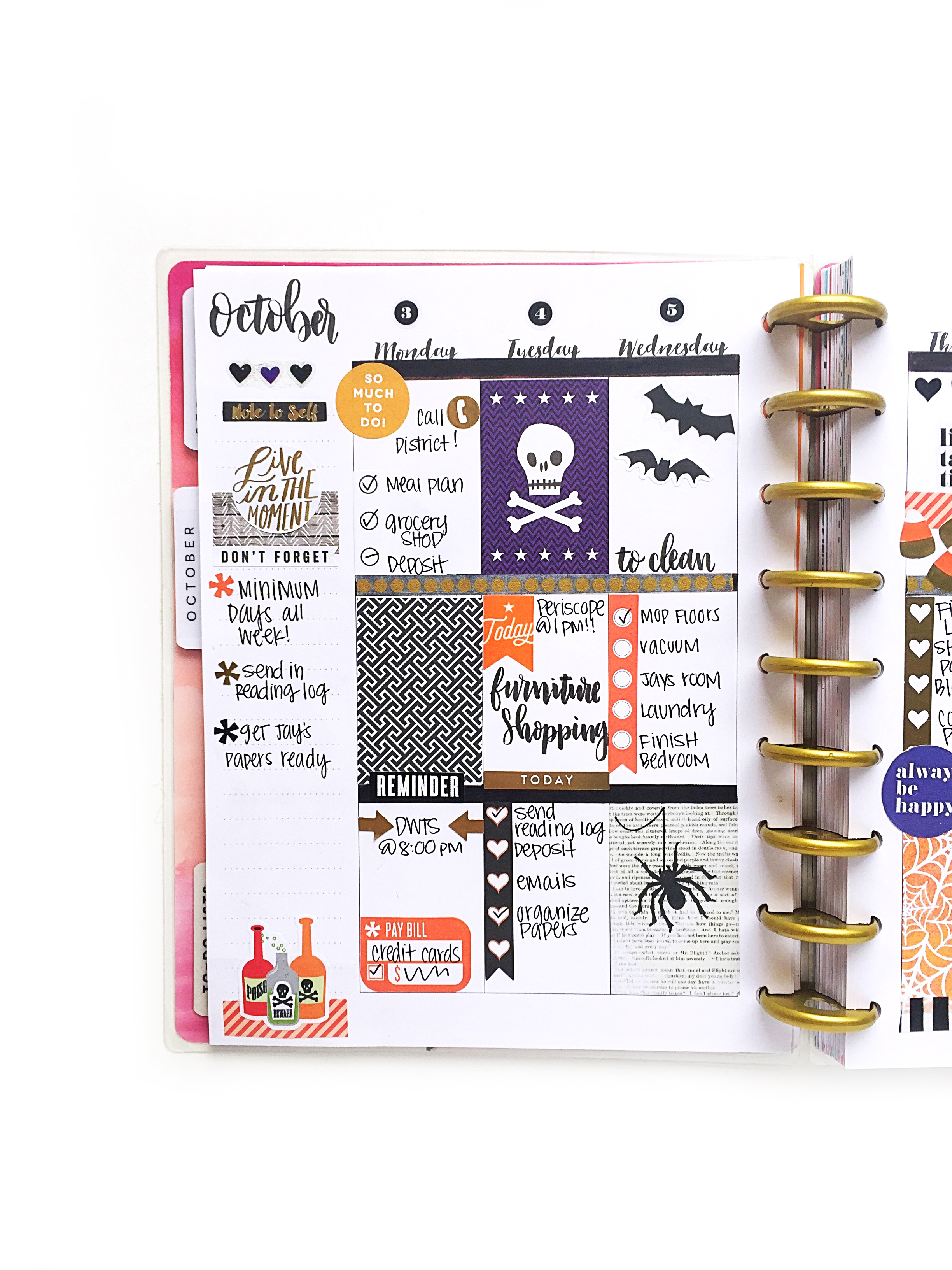Halloween themed weekly spread in The Happy Planner™ of mambi Design Team member Marisa Yciano | me & my BIG ideas