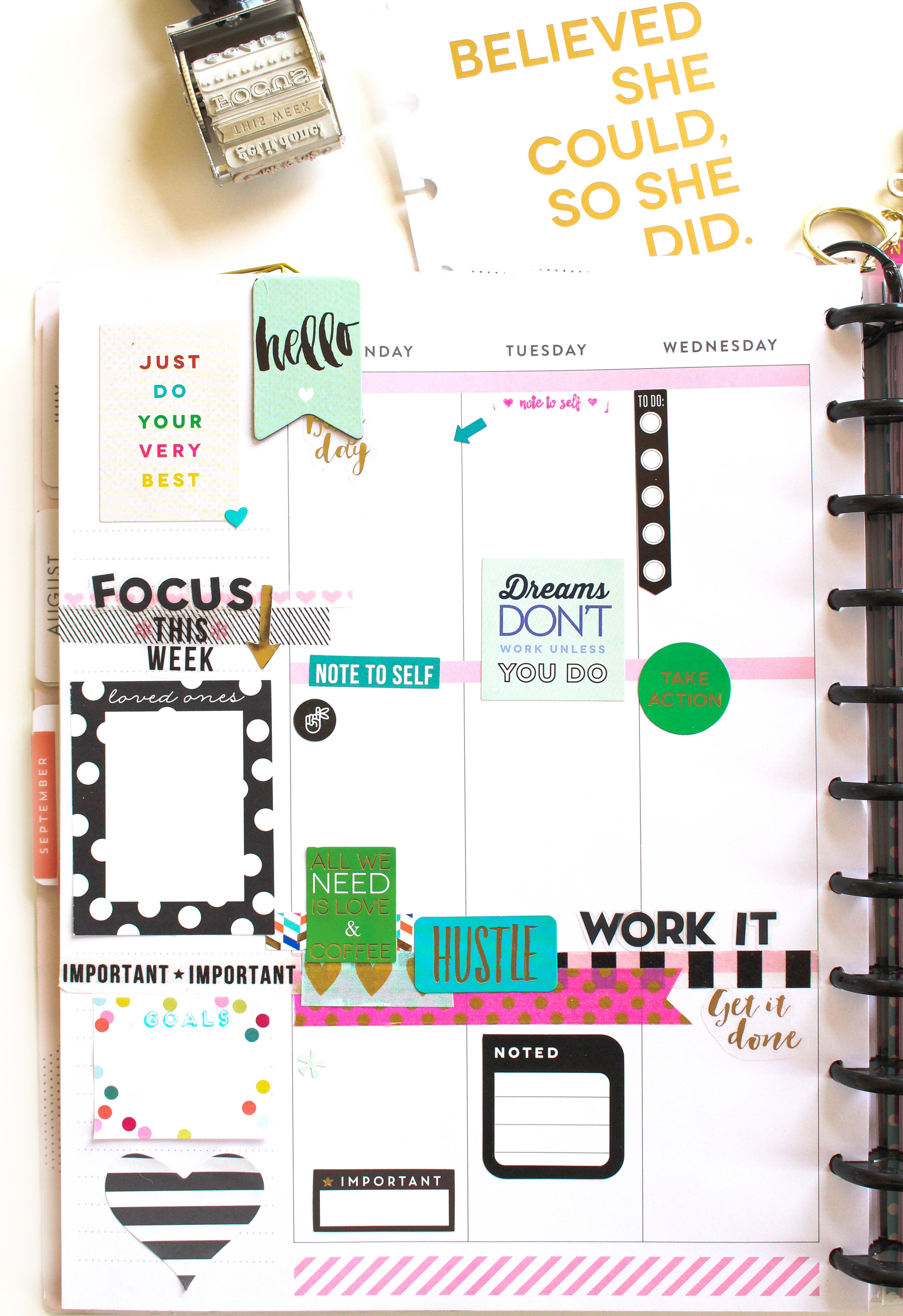 #GIRLBOSS shaker page using a Happy Planner™ pocket page in the BIG Happy Planner™ of mambi Design Team member Tiffany Ross | me & my BIG ideas