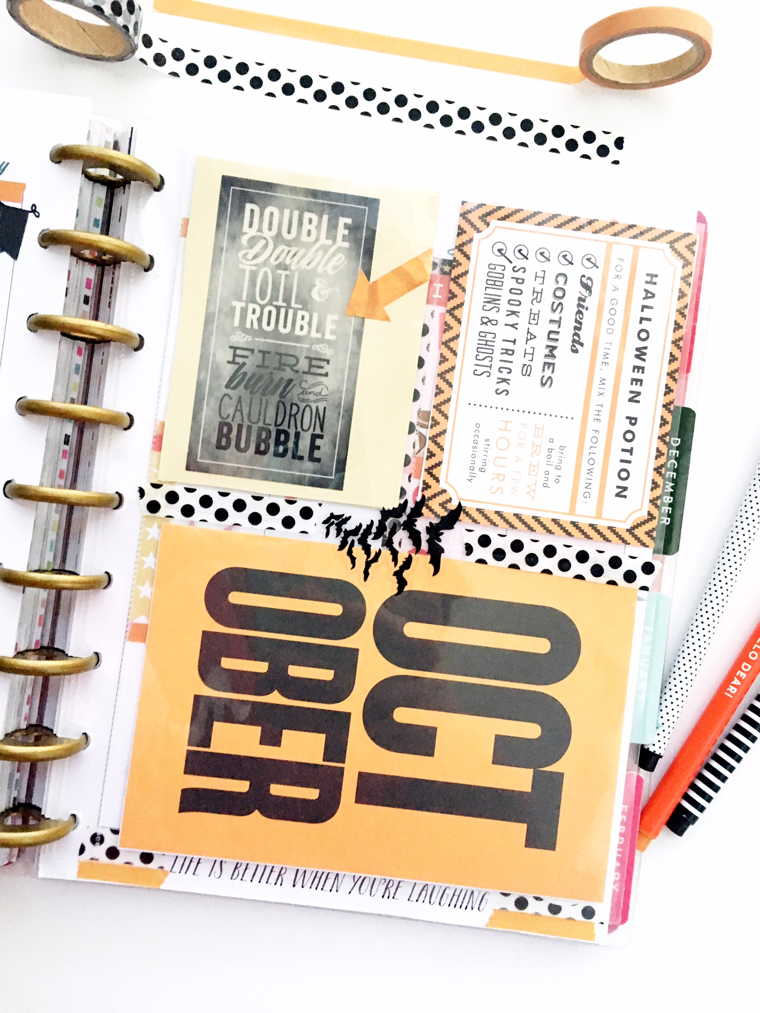 half Halloween / half Fall weekly spread in the 'Botanical Garden' Happy Planner™ of mambi Design Team member Heather Kell using a Happy Planner™ Pocket Page as a divider | me & my BIG ideas