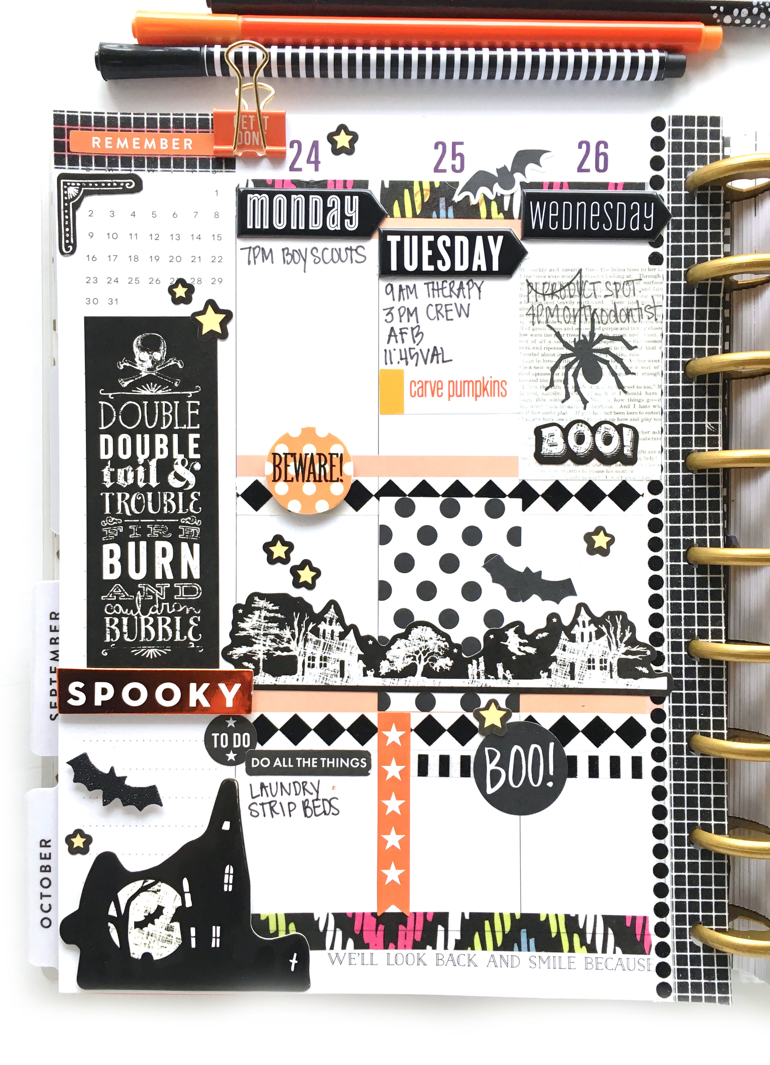 Halloween week in the CLASSIC 'Botanical Garden' Happy Planner™ of mambi Design Team member Mary-Ann Maldonado | me & my BIG ideas