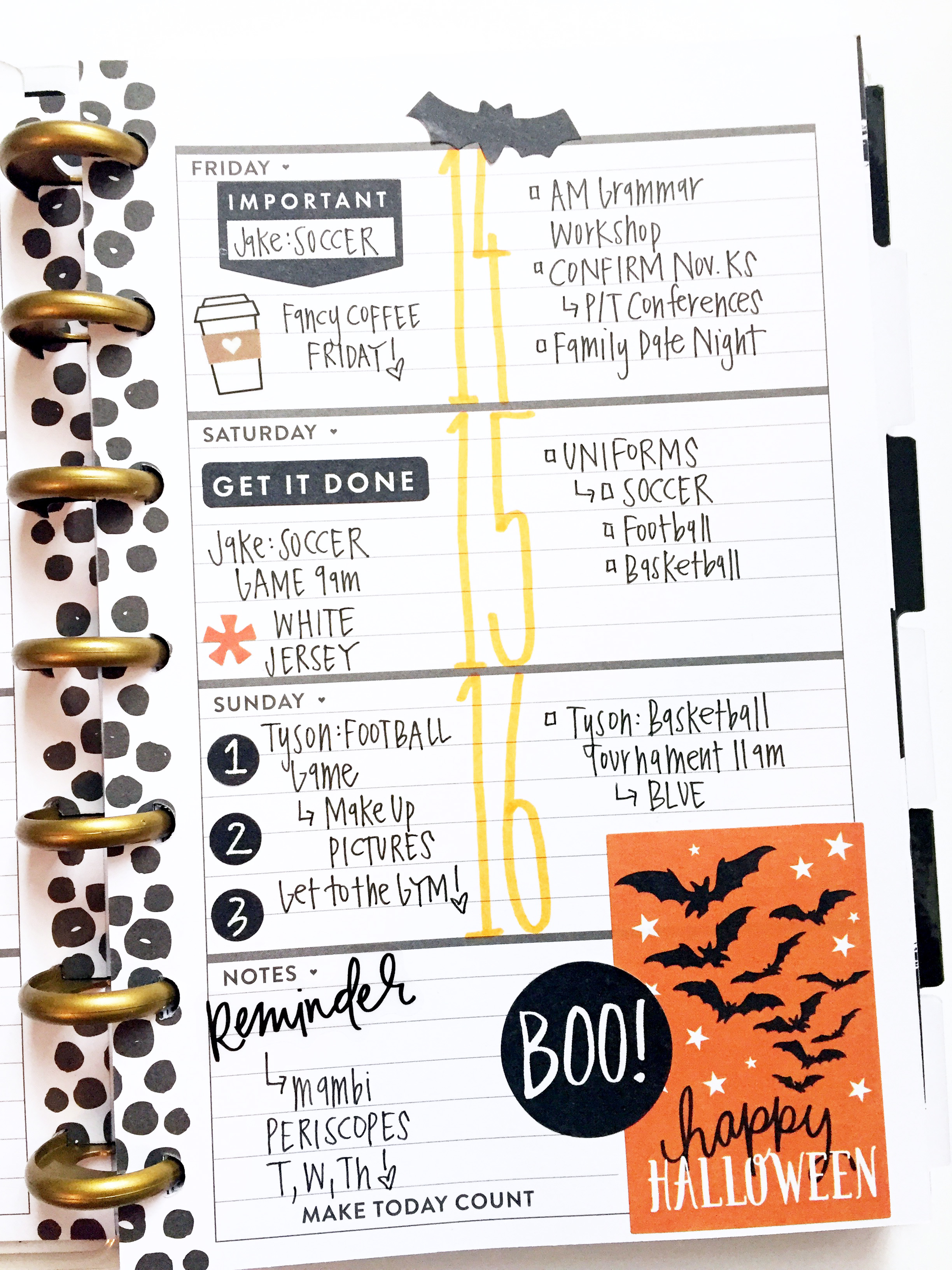 Halloween-themed layout in the MINI black & white Happy Planner™ of  mambi Design Team member April Orr | me & my BIG ideas