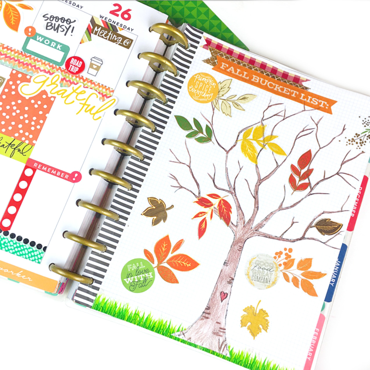 Fall themed week in the 'Be Bright' Happy Planner™ of mambi Design Team member Nita Patterson w/ Fall Bucket List Tree | me & my BIG ideas