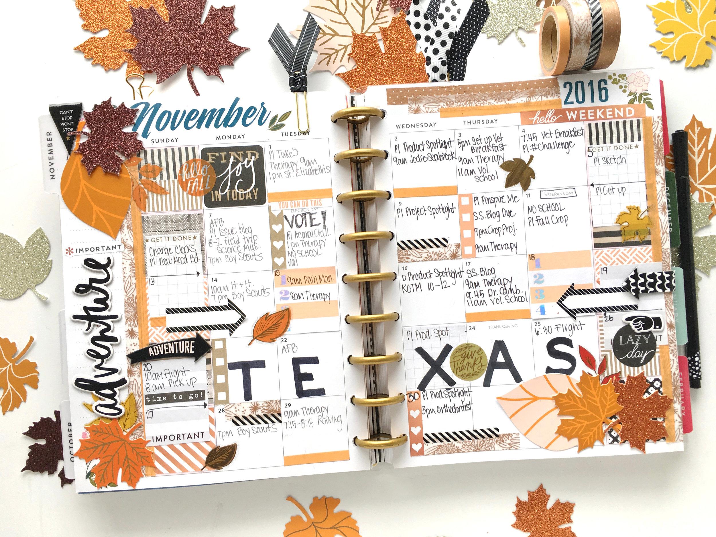 November monthly layout in the 'Botanical Garden' Happy Planner™ of mambi Design Team member Mary-Ann Maldonado | me & my BIG ideas