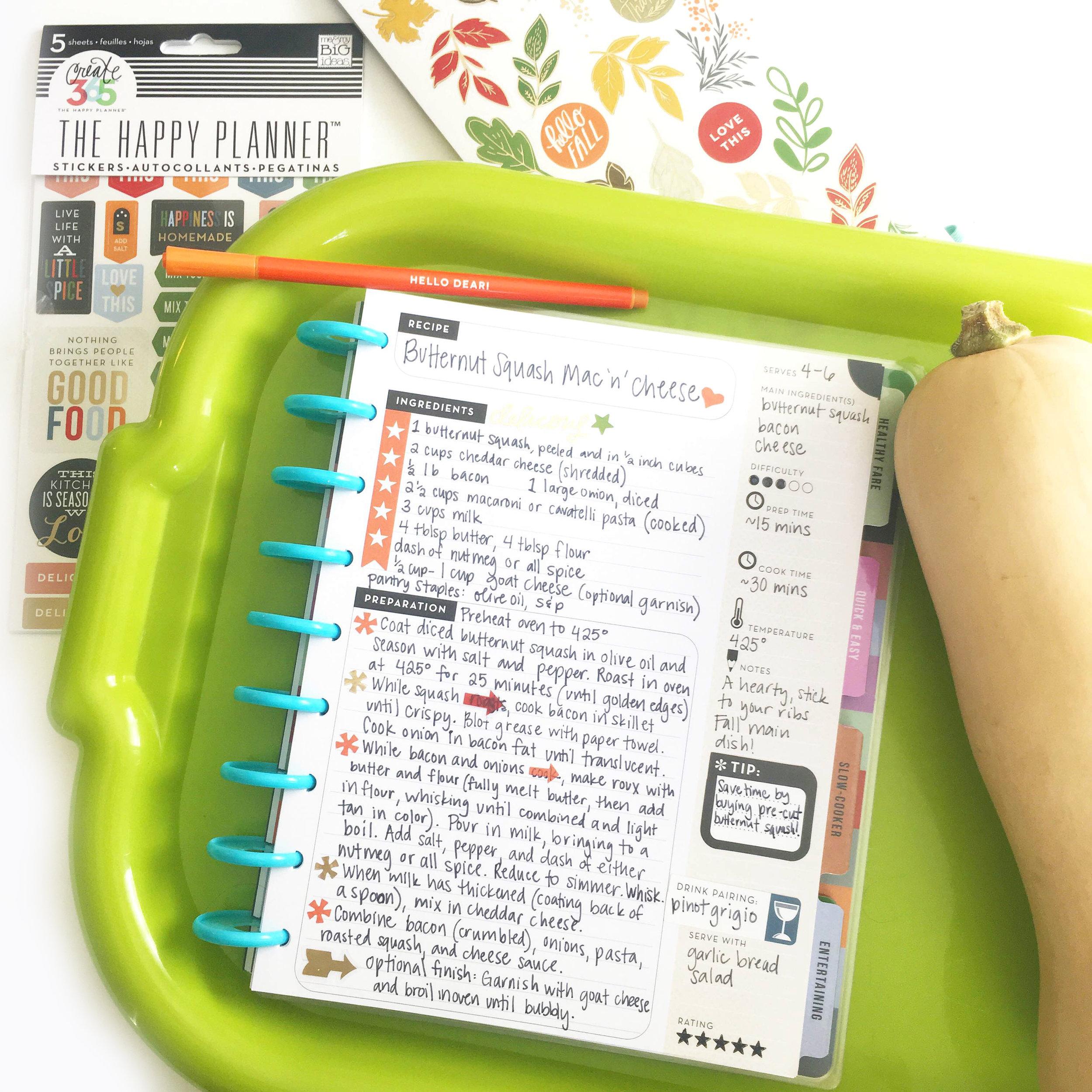 Butternut Squash Mac & Cheese in The Happy Planner™ Recipe Organizer of mambi Design Team member Gretchen Klobucar | me & my BIG ideas
