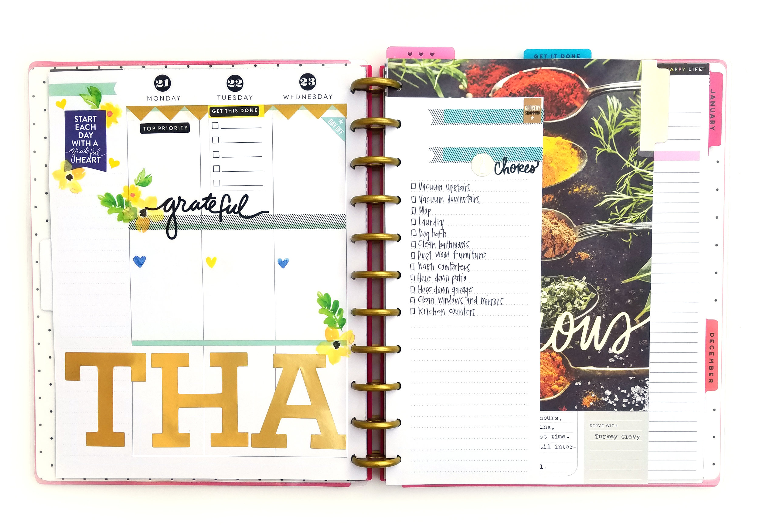 Thanksgiving planning in the BIG Happy Planner™ by mambi Design Team member Sheena MacComiskey | me & my BIG ideas