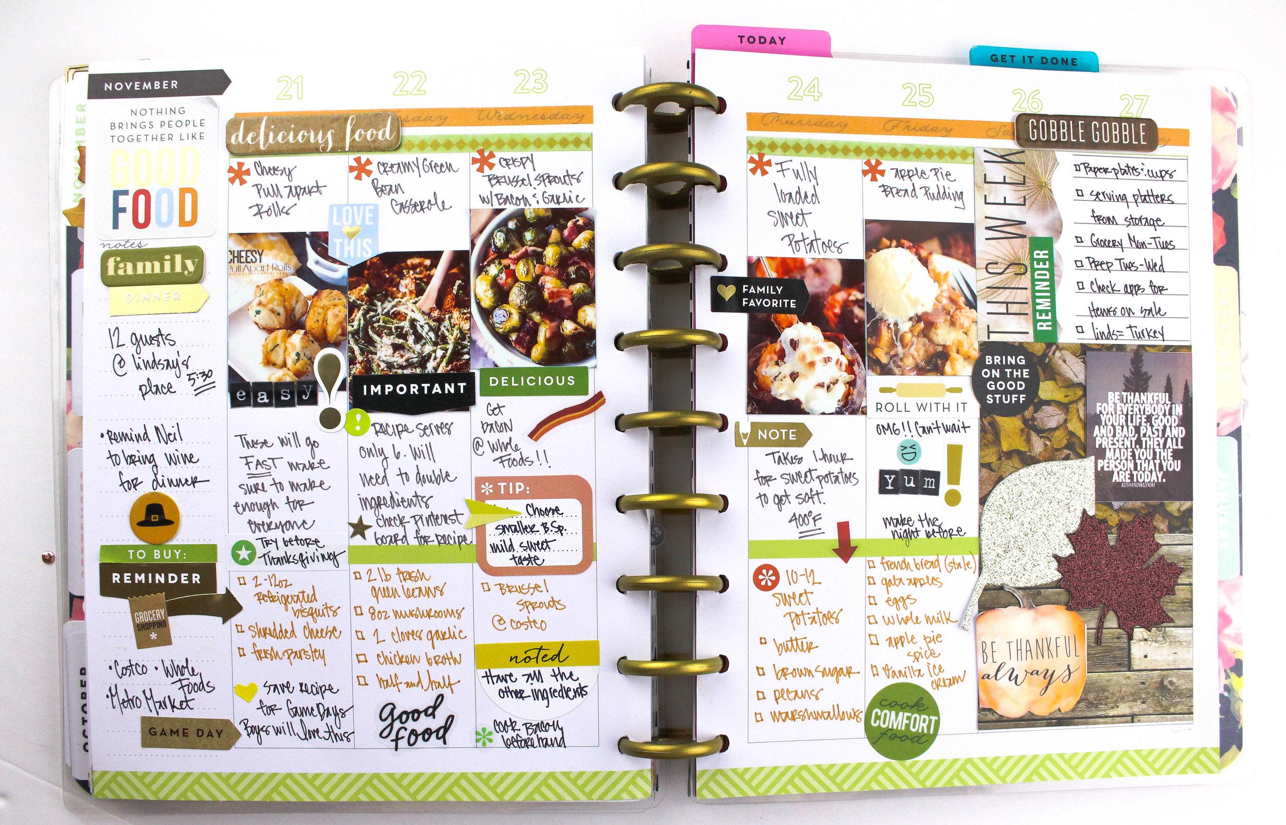 Thanksgiving menu layout w/ matching MINI weekly spread — me