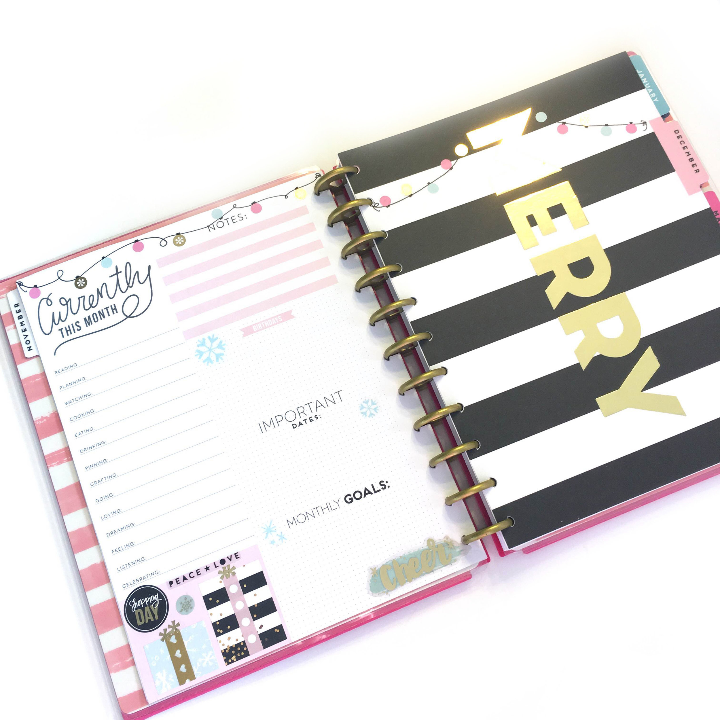 prepping for December in the BIG 'Tranquility' Happy Planner™ using the Six-Month Extension Pack by mambi Design Team member Gretchen Klobucar | me & my BIG ideas