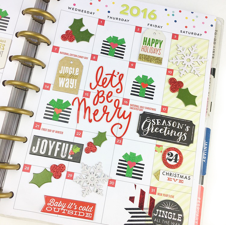 'Let's Be Merry' December monthly in the CLASSIC 'Be Bright' Happy Planner™ of mambi Design Team member Nita Patterson | me & my BIG ideas