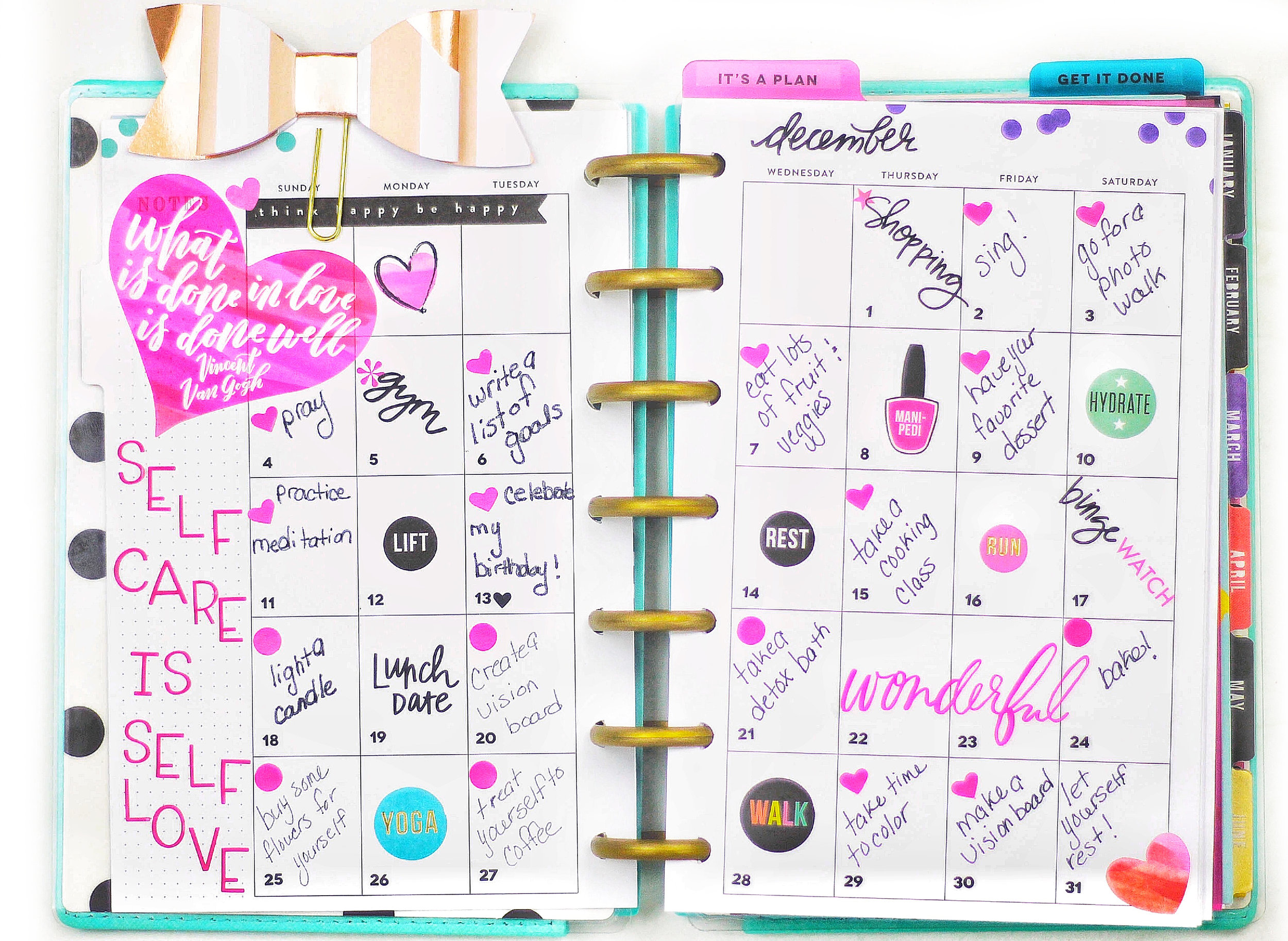 documenting self-care on a mini Happy Planner® monthly