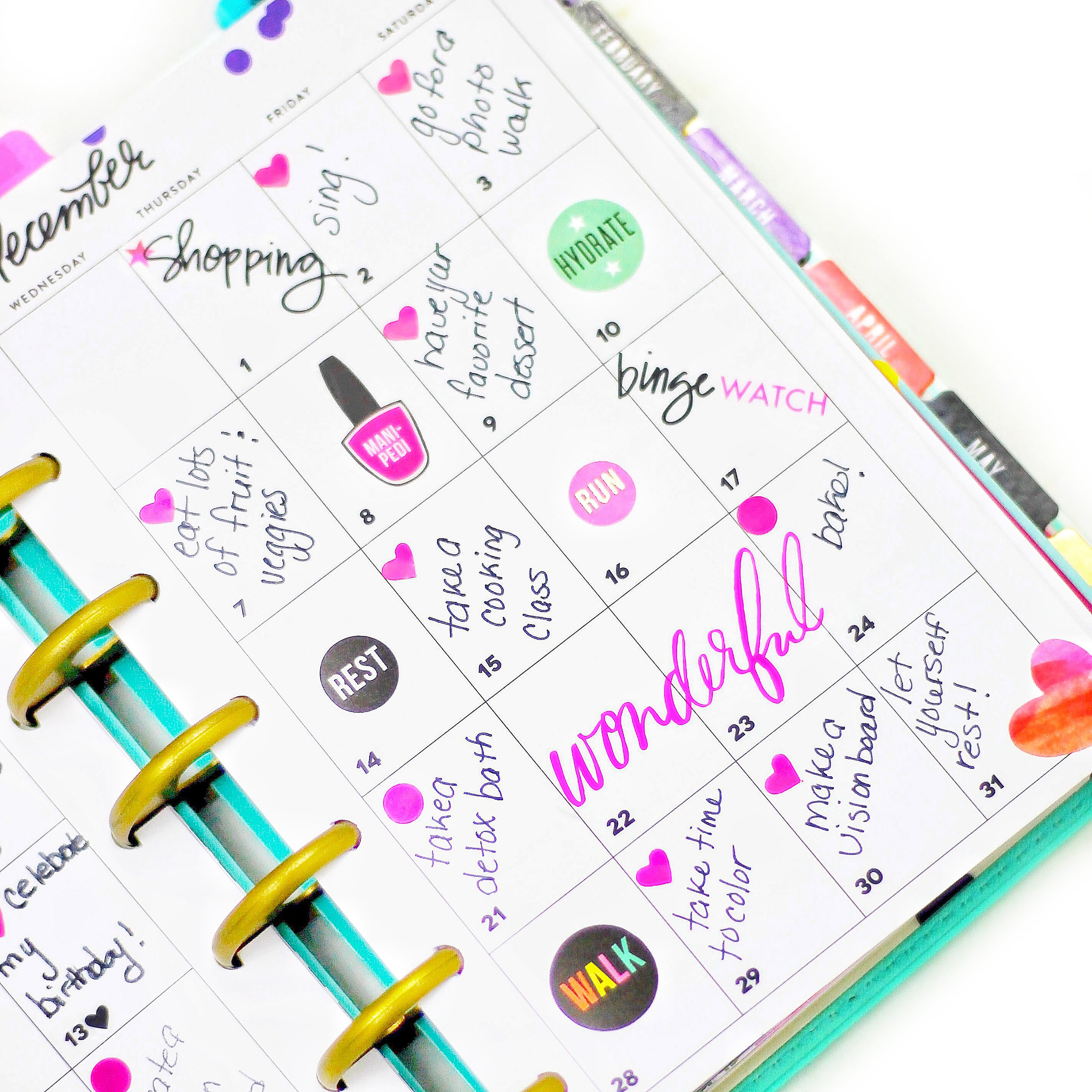 documenting self-care on a mini Happy Planner® monthly spread by mambi Design Team member Nicole Patterson   me & my BIG ideas