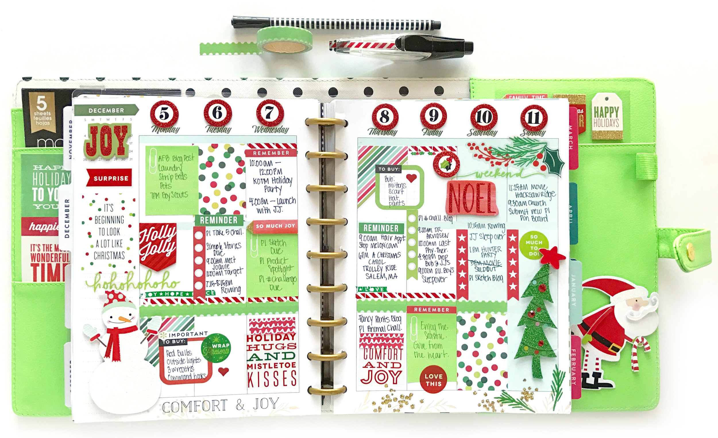 a red & green & Deluxe Cover Christmas (!!!) in the CLASSIC 'Botanical Garden' Happy Planner™ of mambi Design Team member Mary-Ann Maldonado | me & my BIG ideas