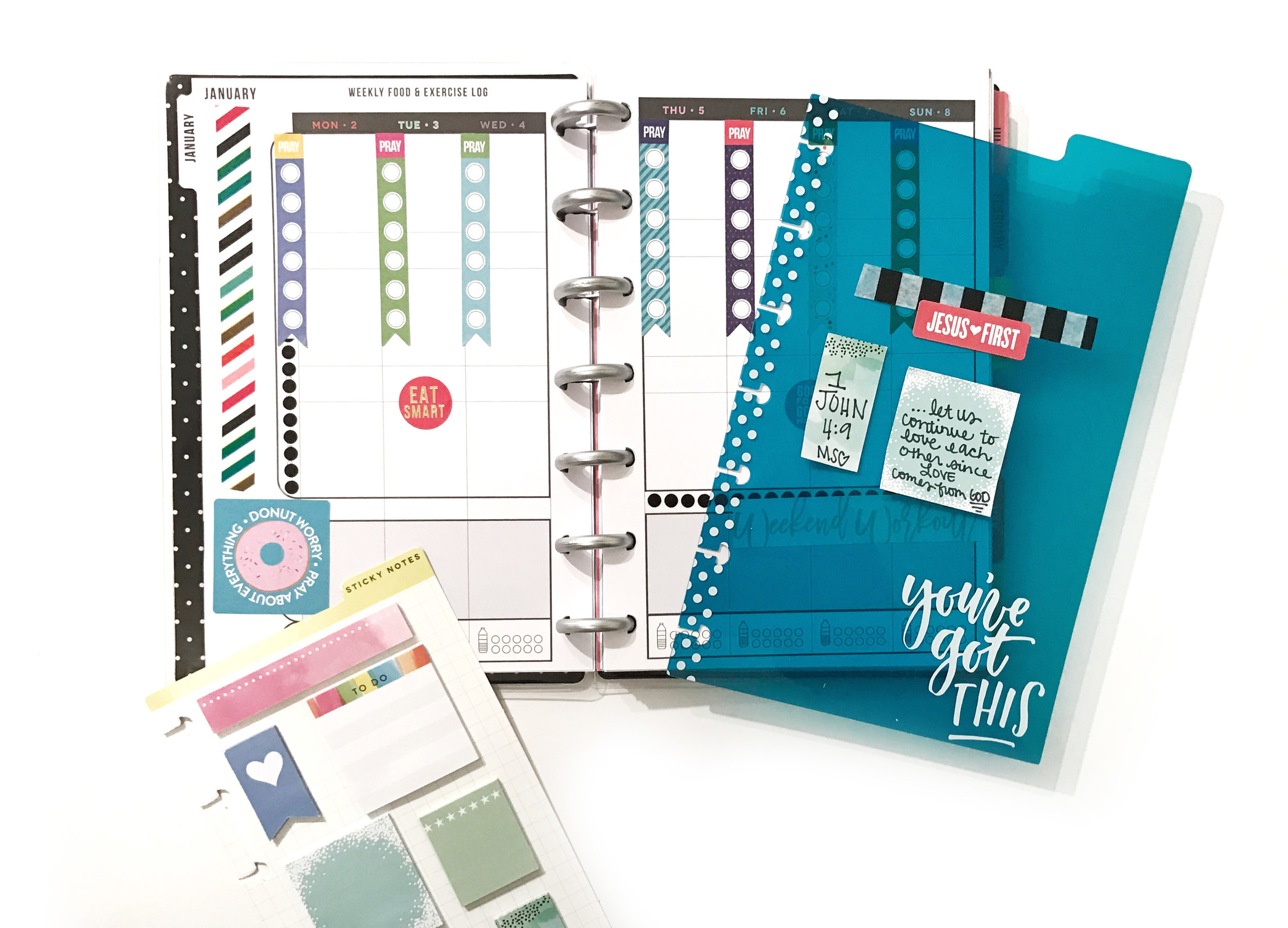 January prep pages for tracking exercise & prayer in the MINI Happy Planner® Fitness Planner by mambi Design Team member Erica Canant | me & my BIG ideas