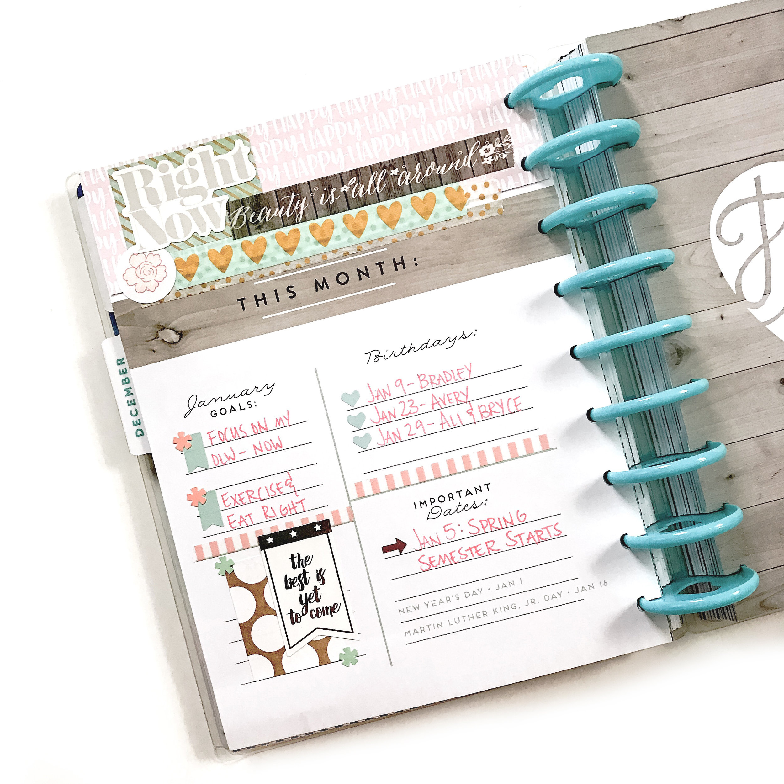 January monthly prep in the 'Picture Quote' Happy Planner® of mambi Design Team member Liz Nielson   me & my Big ideas