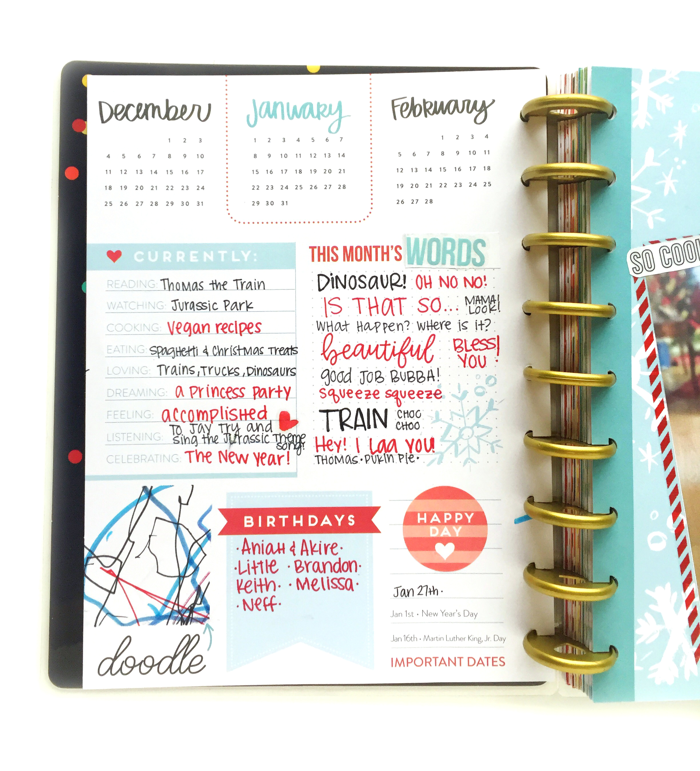 January monthly prep in the 'Seasonal' Happy Planner® of mambi Design Team member Marisa Yciano   me & my Big ideas