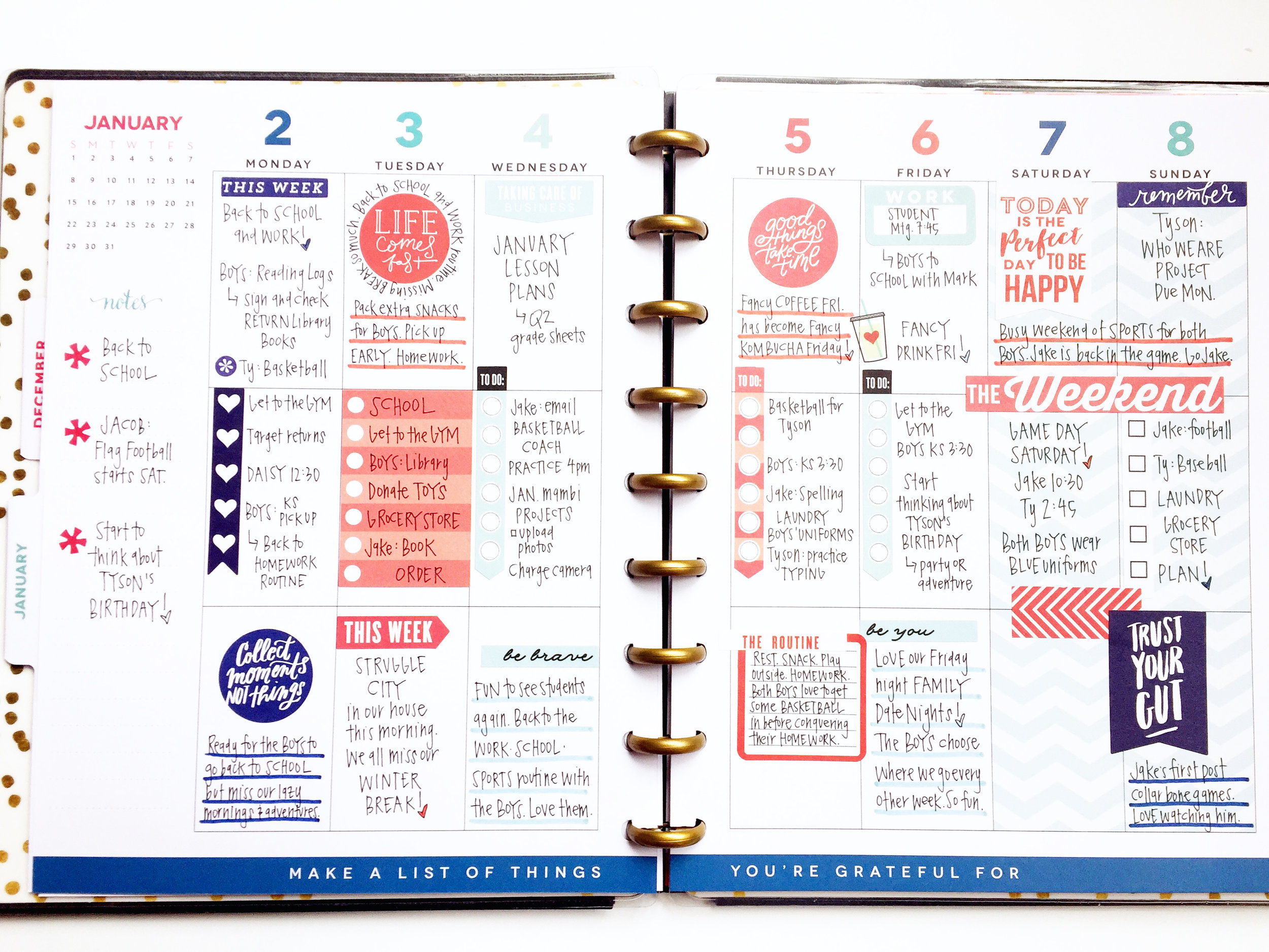 colorful January weekly pages in two of our CLASSIC Happy
