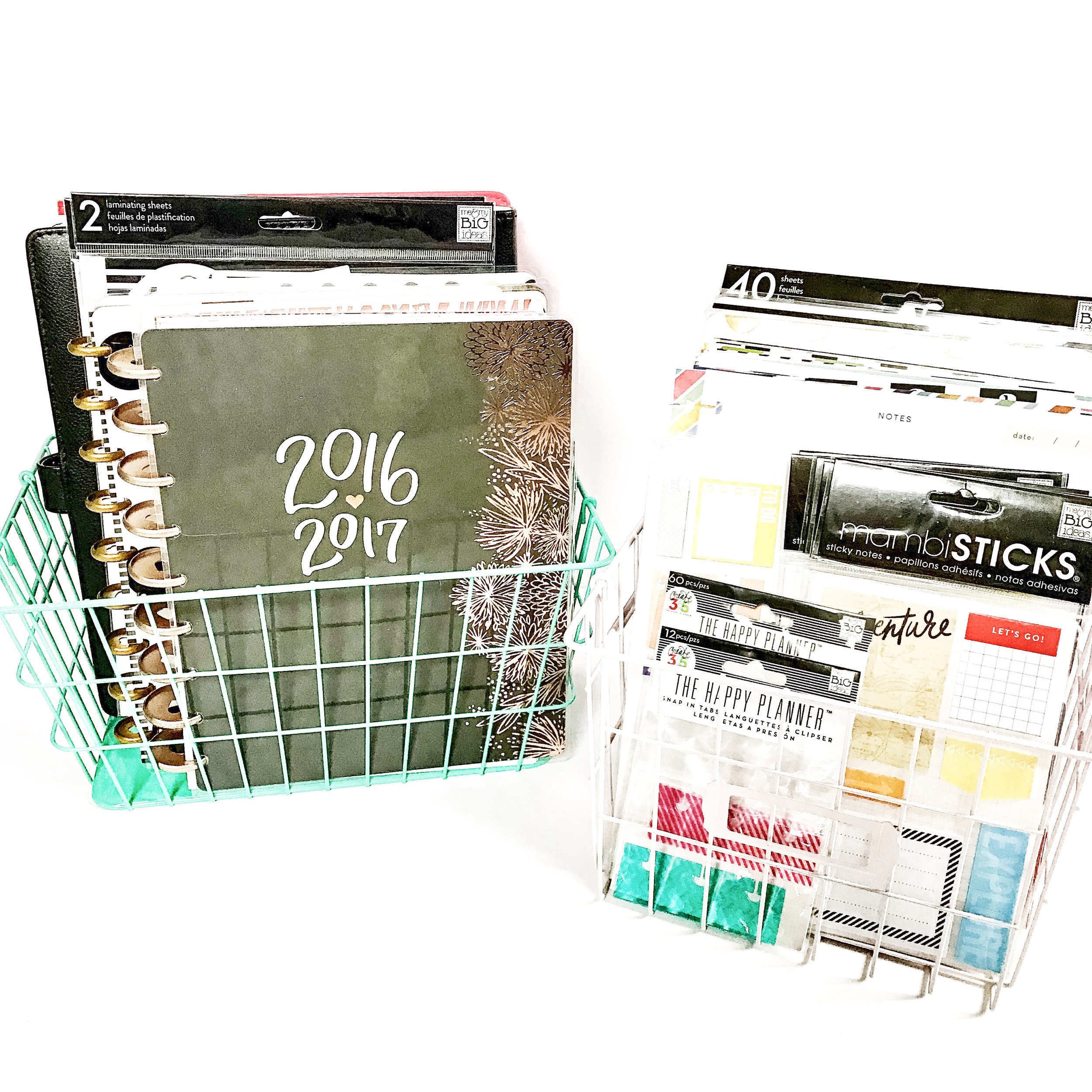 using wire baskets to organize your Happy Planner® collection by mambi Design Team member Liz Nielson | me & my Big ideas