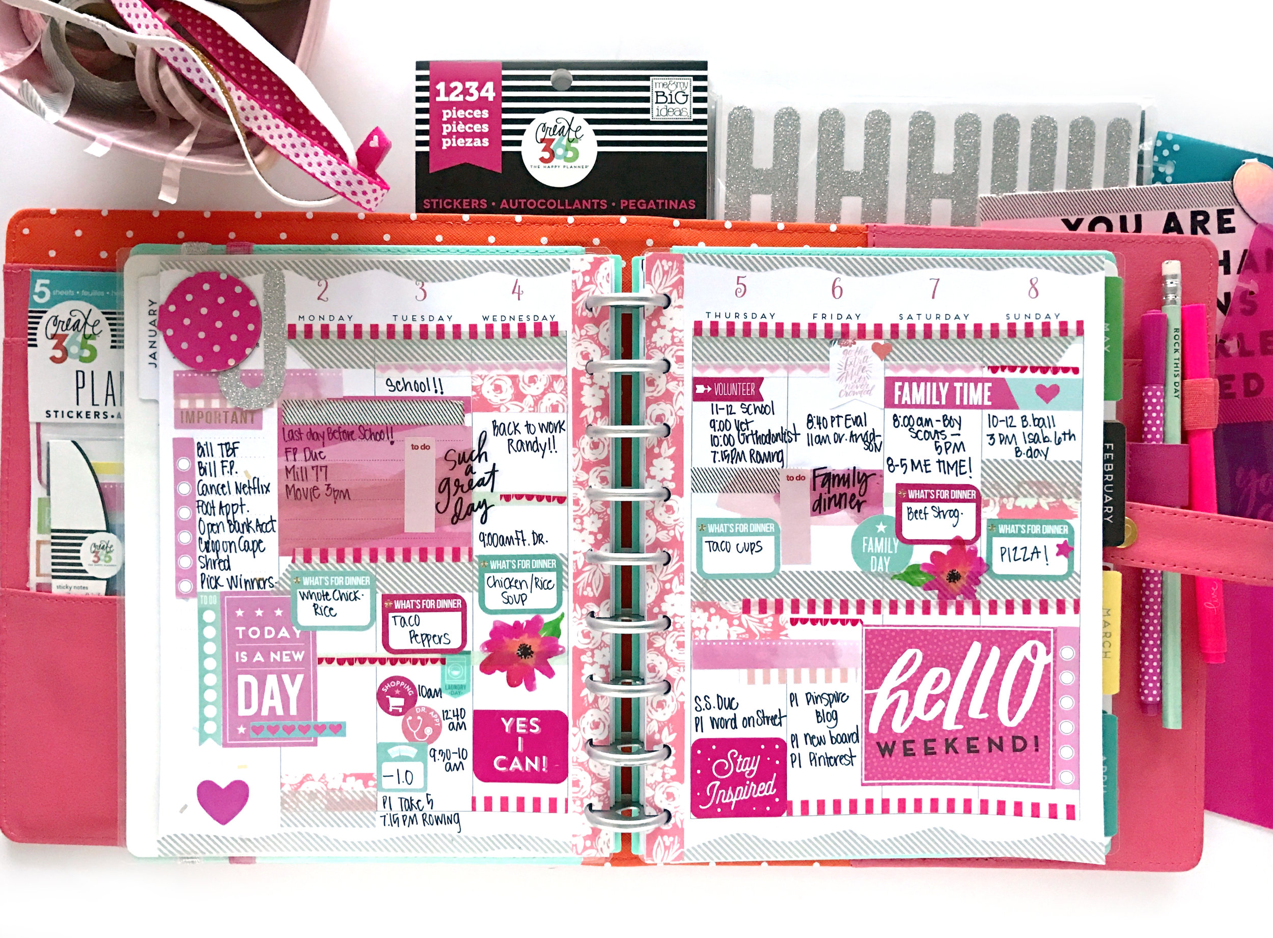 loaded January week in the CLASSIC 'Super Fun' Happy Planner® by mambi Design Team member Mary-Ann  Maldonado | me & my BIG ideas