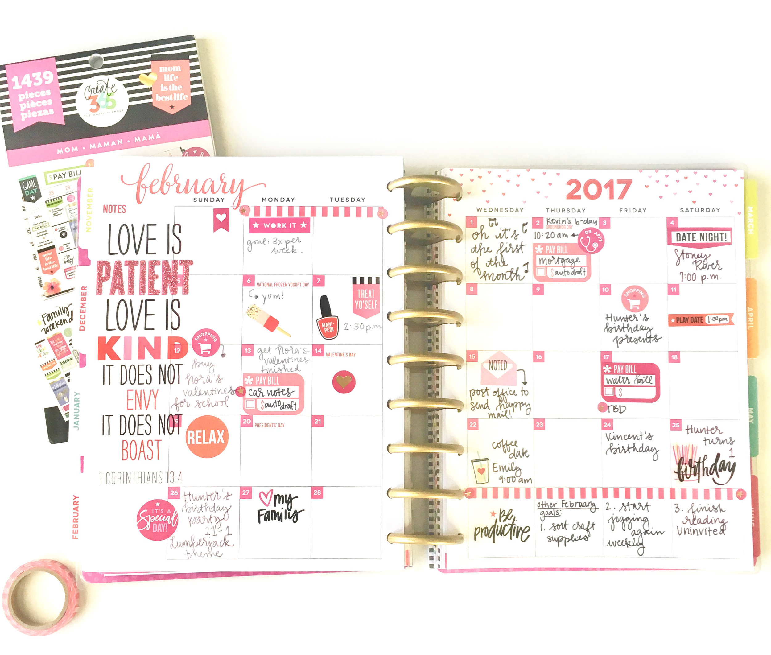 Monthly setup in the 'Be Bright' CLASSIC Happy Planner® using the 'MOM' sticker value pack by mambi Design Team member Gretchen Klobucar | me & my BIG ideas