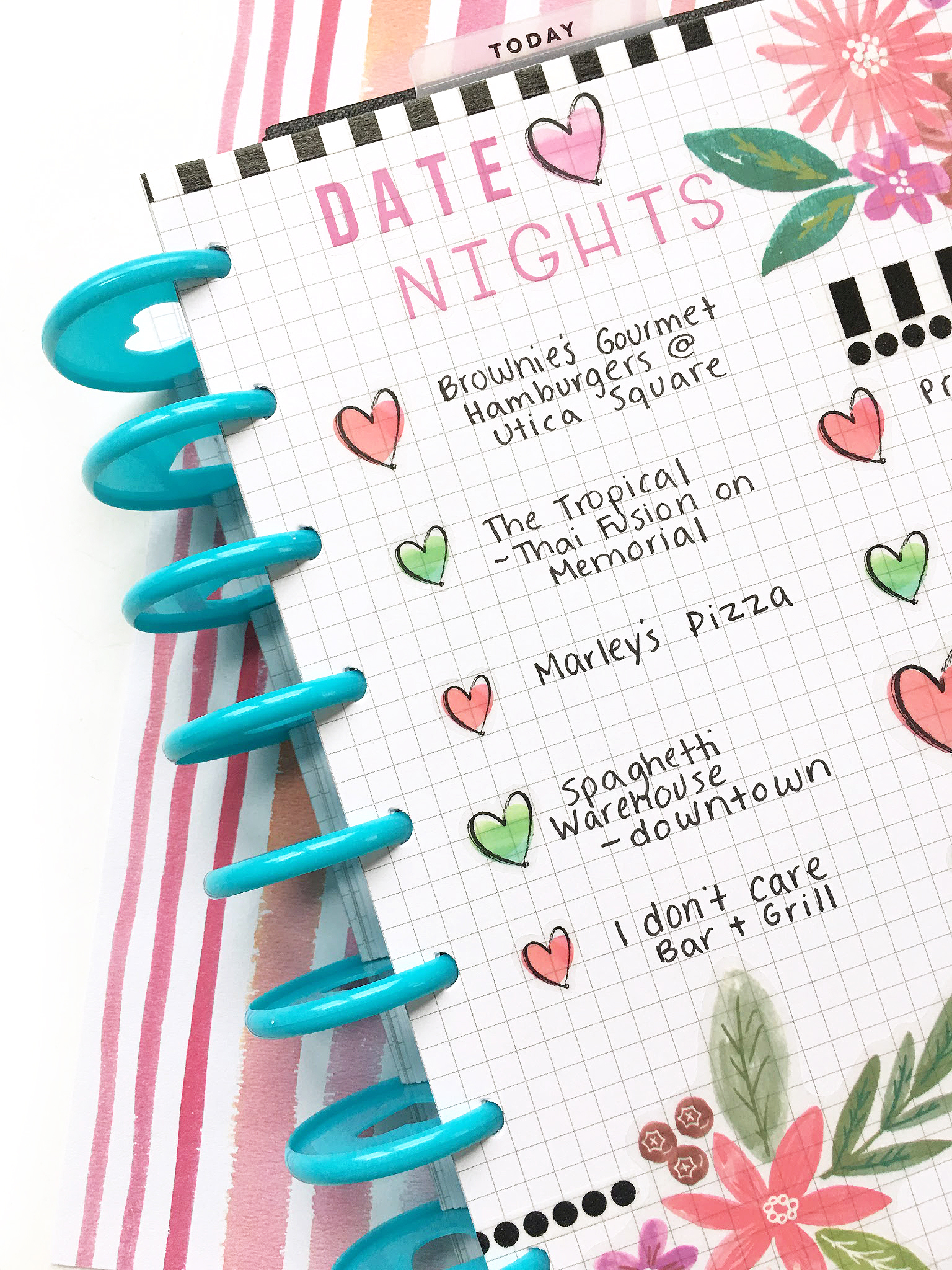 DIY 'Date Night' Bucket List page using Happy Planner grid paper by mambi Design Team member Katie Barton | me & my BIG ideas