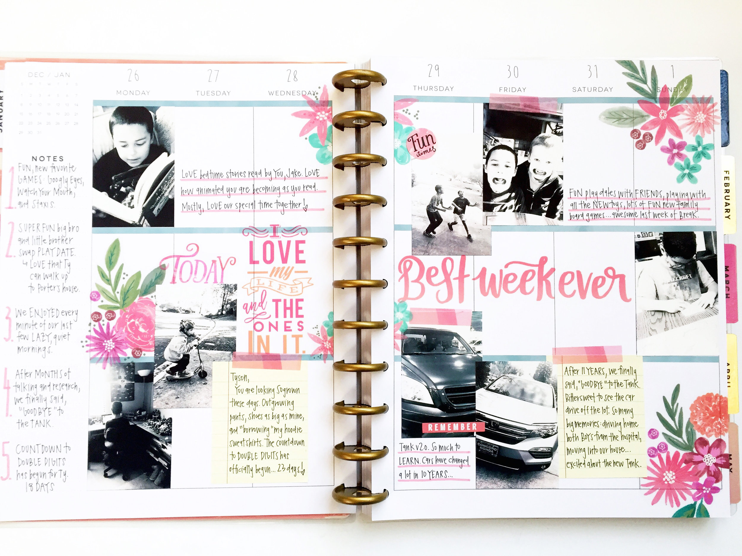 three weeks worth of memory planned pages in the BIG 'Tranquility' Happy Planner® by mambi Design Team member April Orr   me & my Big ideas