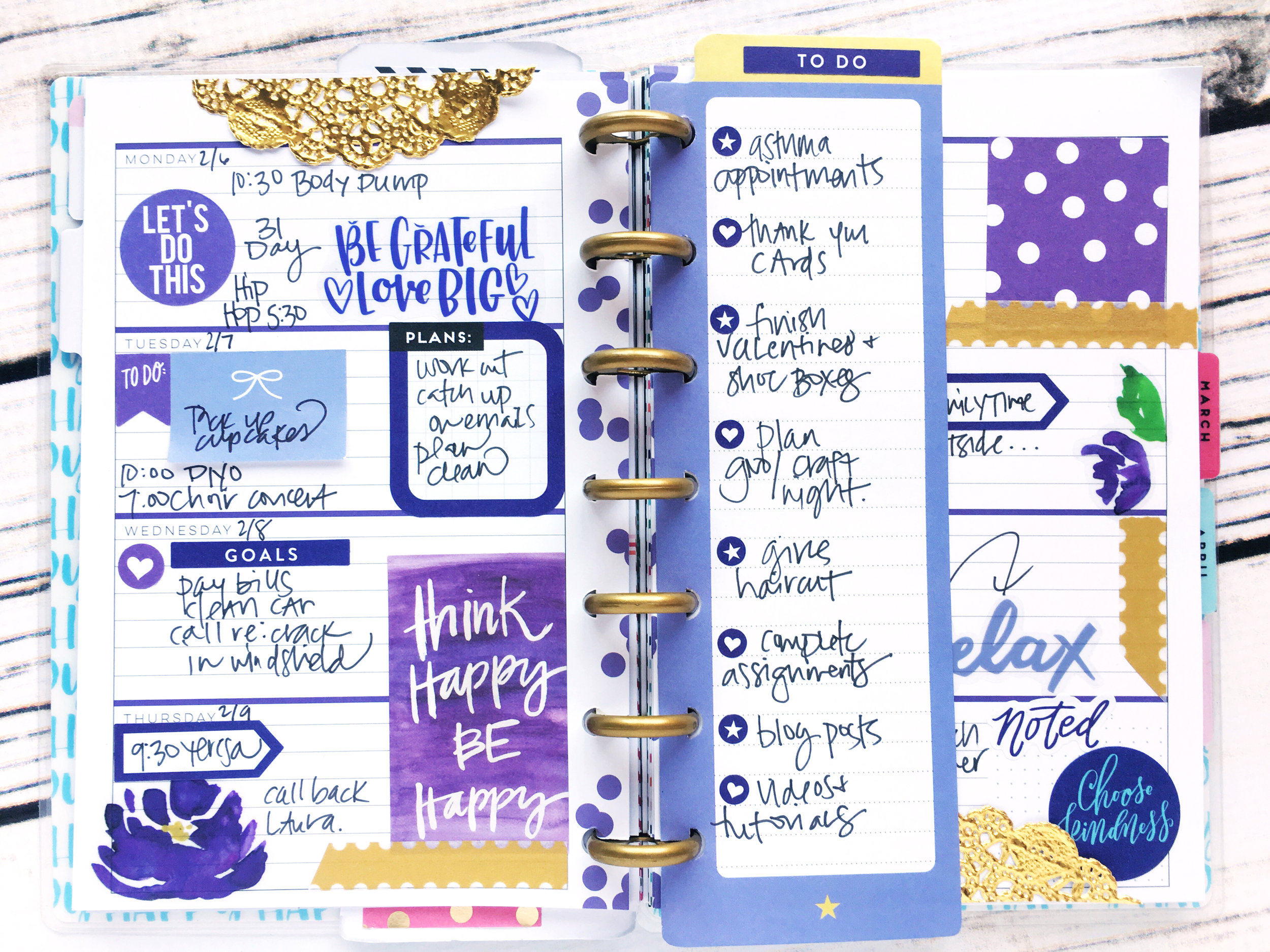 purple monochromatic fully functional MINI Happy Planner® layout by mambi Design Team member Stephanie Howell | me & my BIG ideas