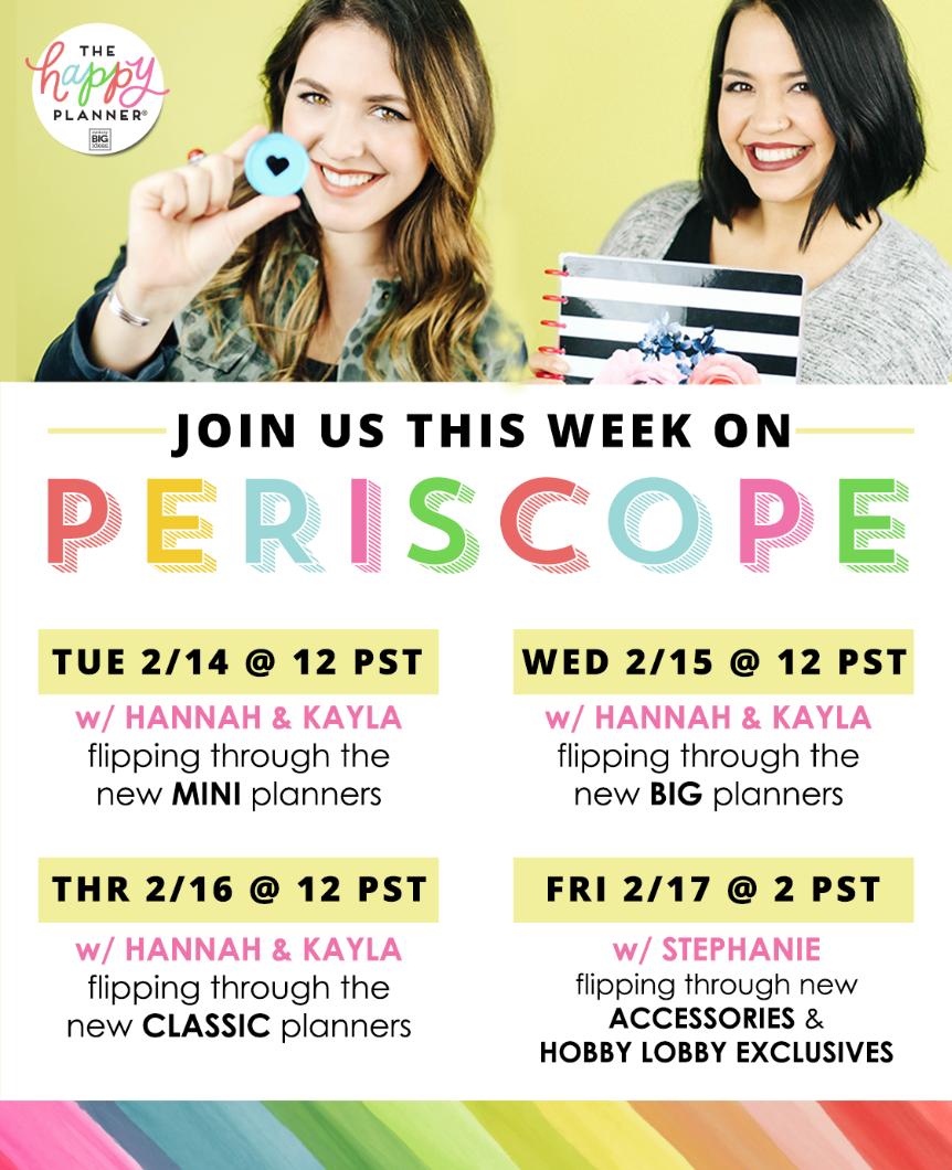 Periscope Schedule Feb 14-17, 2017 | me & my BIG ideas