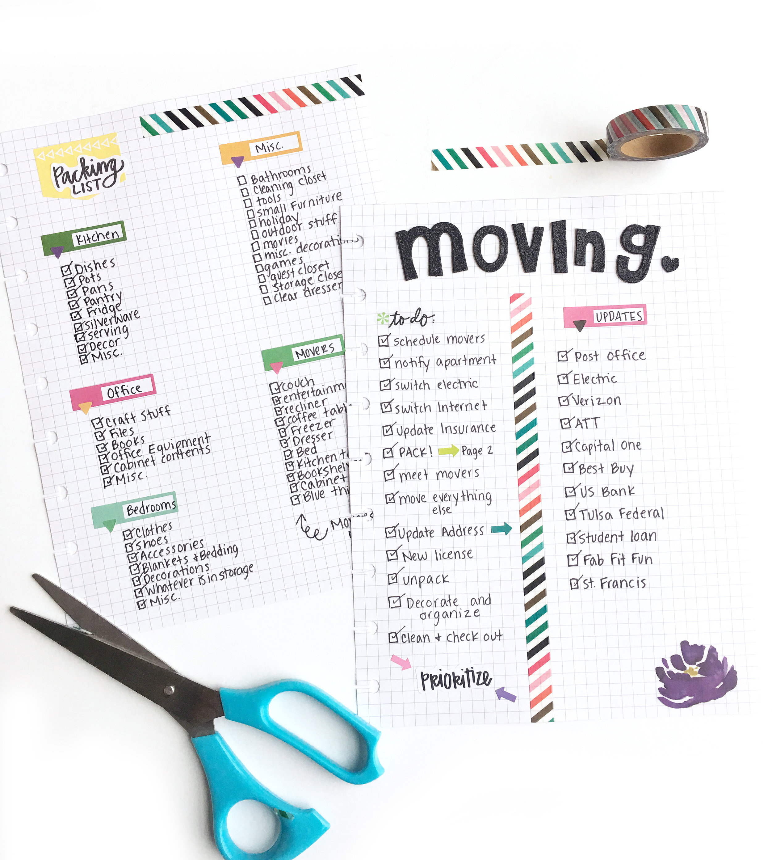 'moving sheets' using Happy Planner®grid paper by mambi Design Team member Katie Barton | me & my BIG ideas