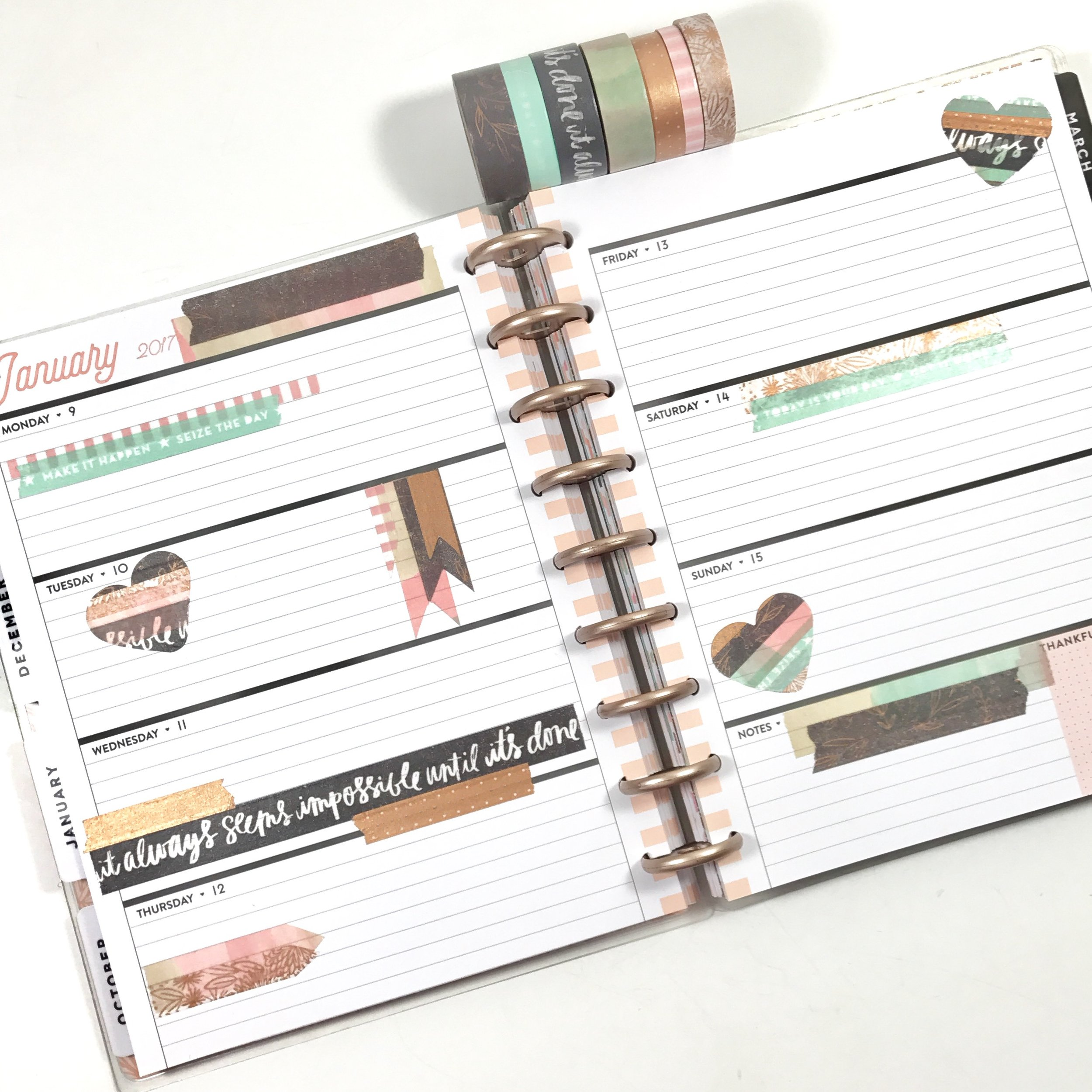 Rose Gold Washi Tape + the CLASSIC 'Rose Gold Horizontal' Happy Planner® by mambi Design Team member Liz Nielson | me & my BIG ideas