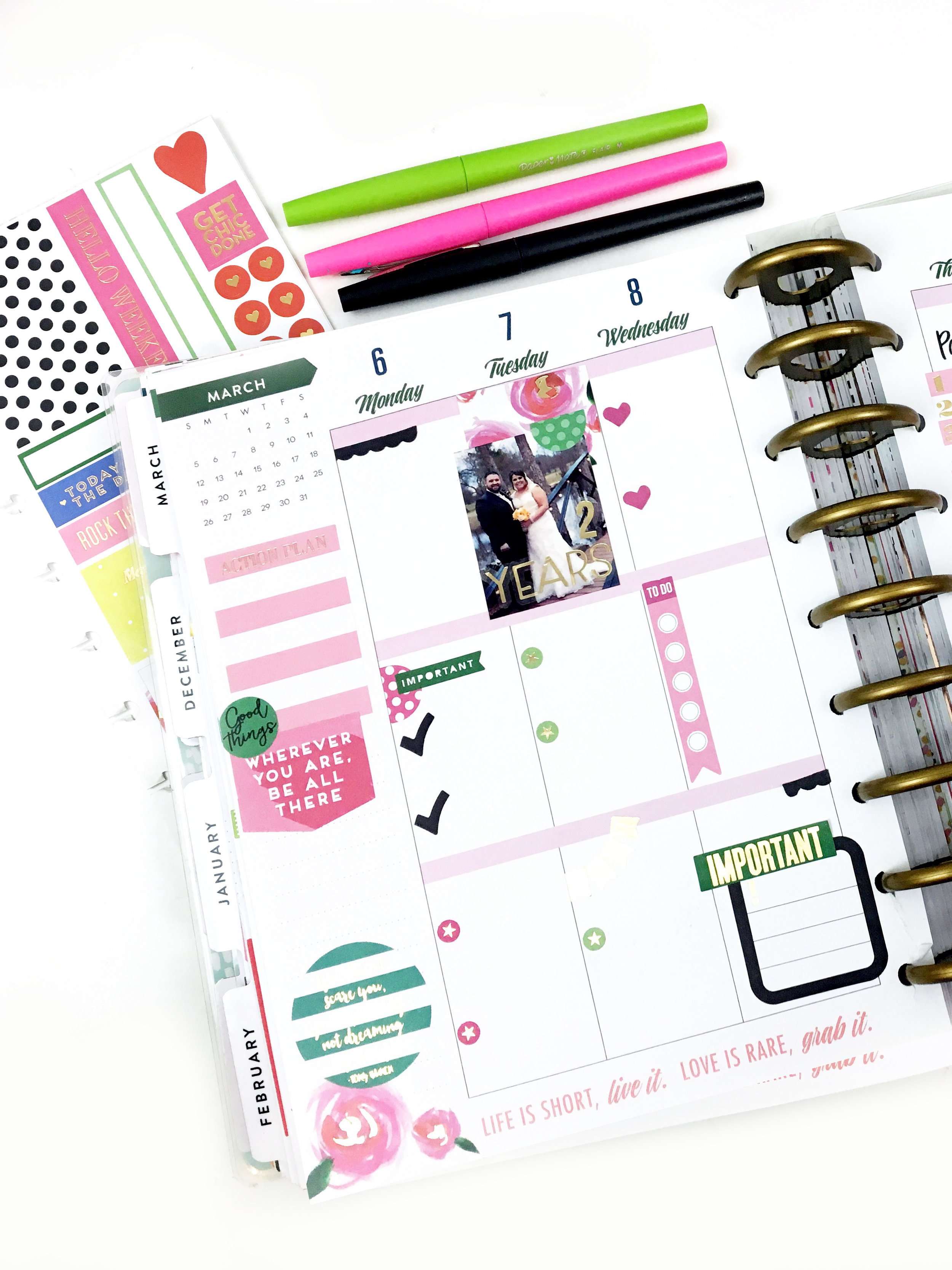#beforethepen using a new pack of Happy Planner® stickers by mambi Design Team member Heather Kell | me & my BIG ideas