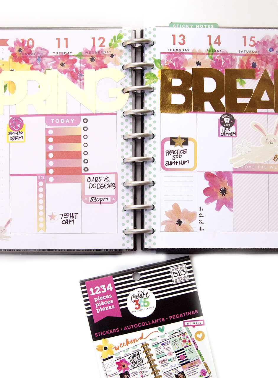 'Spring Break' #beforethepen in the CLASSIC 'Be Bright' Happy Planner® by mambi Design Team member Jennie McGarvey | me & my BIG ideas