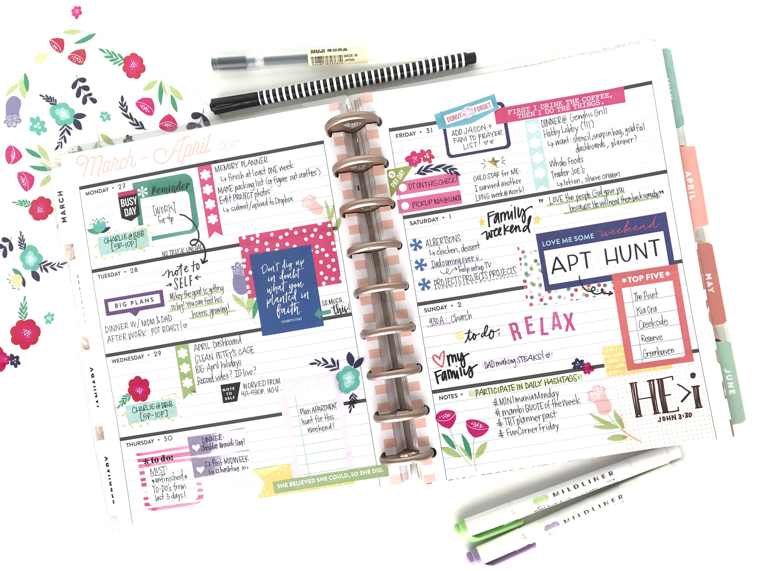 'Spring Into April' in the Rose Gold Horizontal Happy Planner® by mambi Design Team member Michelle Weissert | me & my BIG ideas