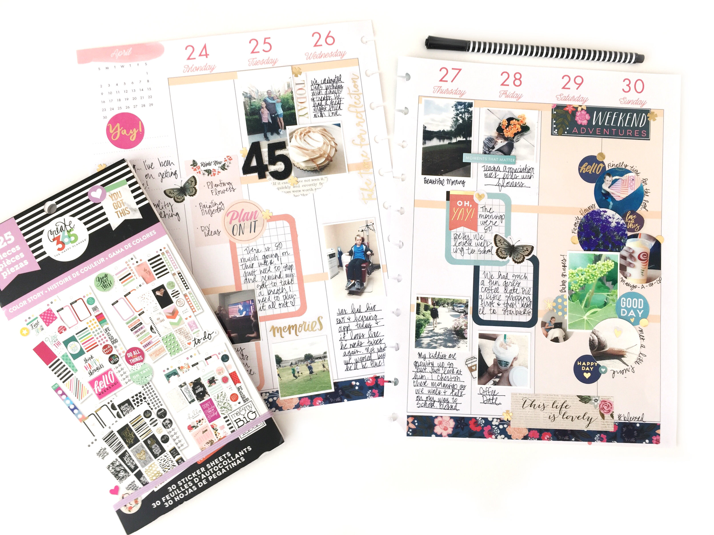 layering a cluster of stickers in a BIG memory planned Happy Planner® spread by mambi Design Team member Jen Randall | me & my BIG ideas