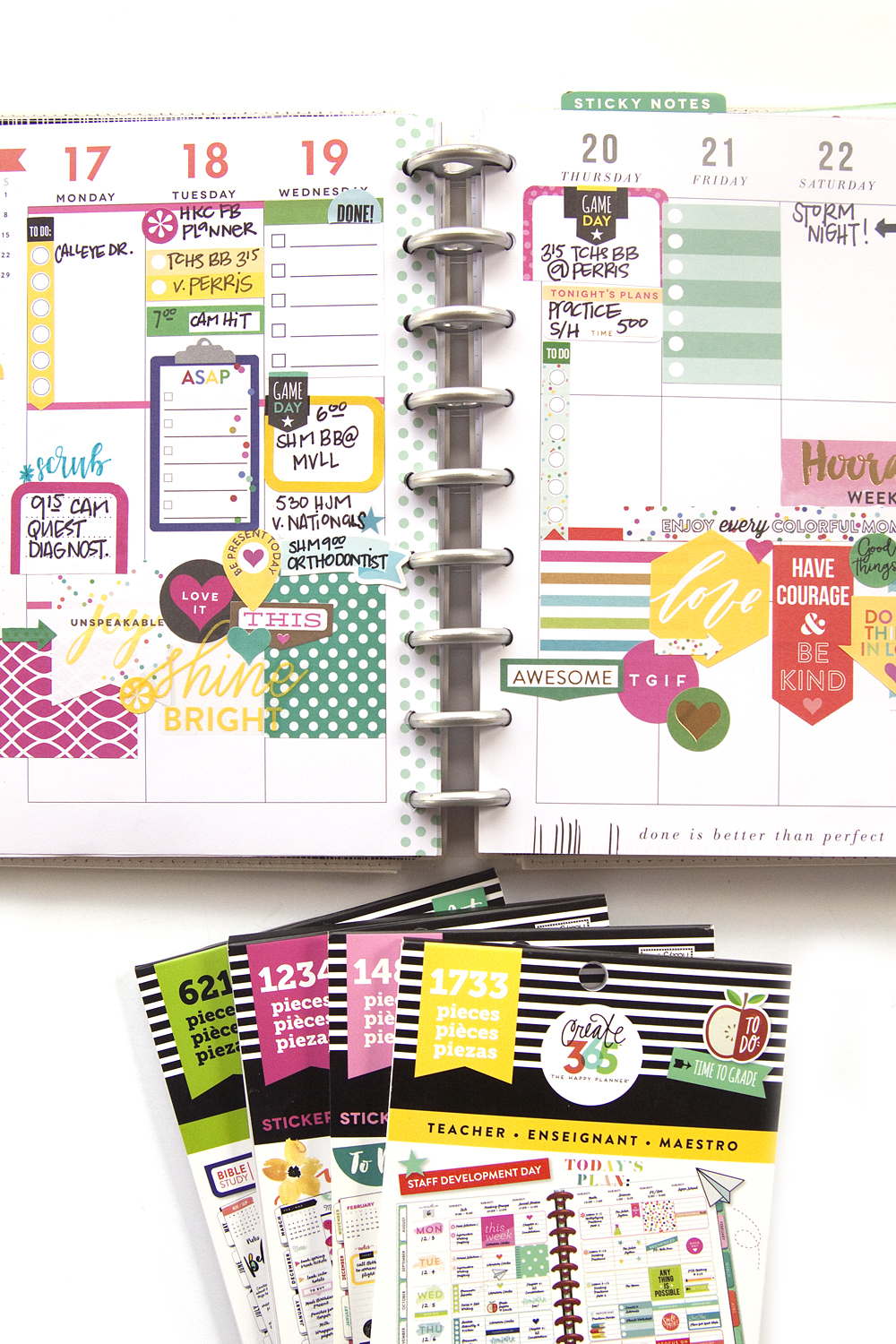 layering a cluster of stickers in a functional Frankenplanned Happy Planner® spread by mambi Design Team member Jennie McGarvey | me & my BIG ideas